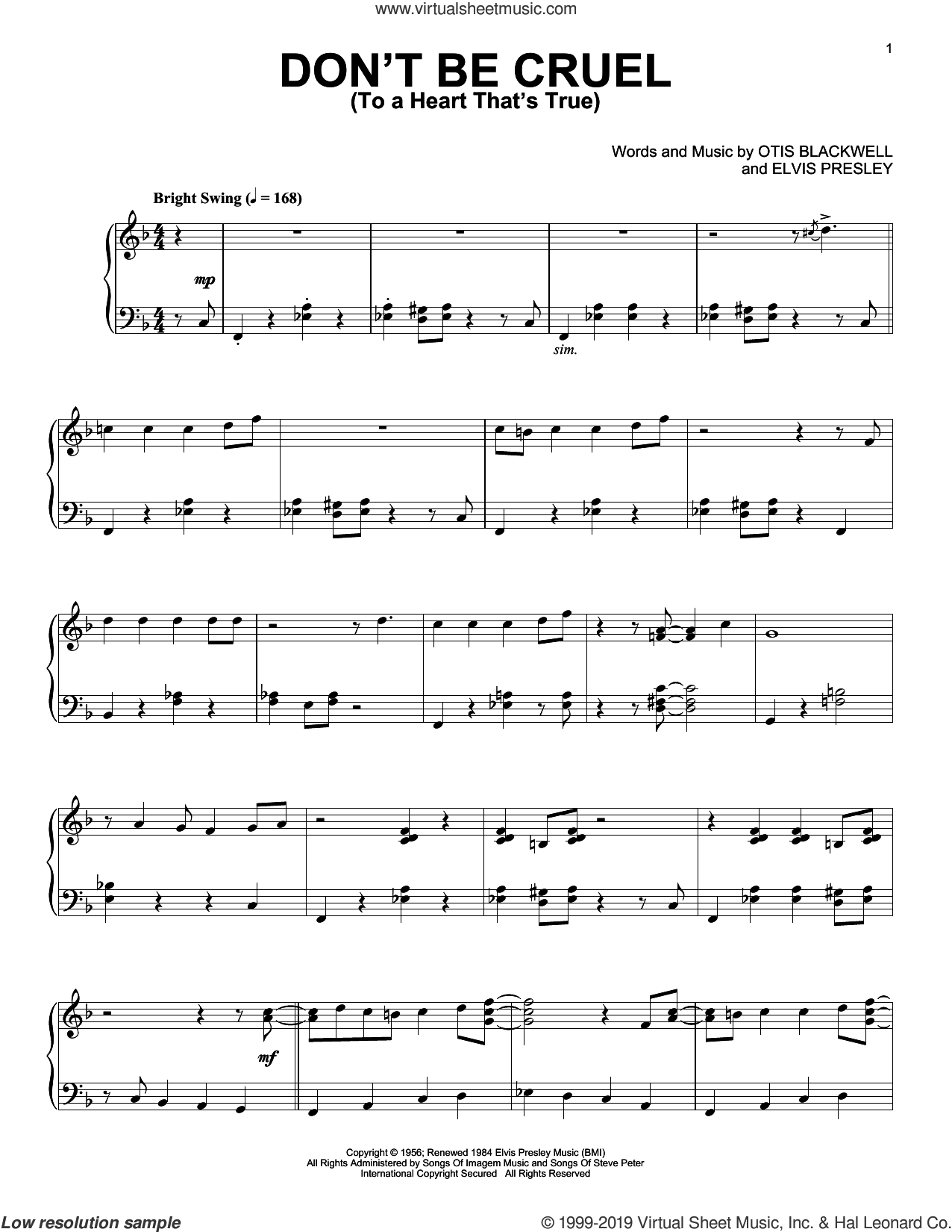 Don't Be Cruel (To A Heart That's True) [Jazz version] sheet music for piano solo by Elvis Presley and Otis Blackwell, intermediate skill level
