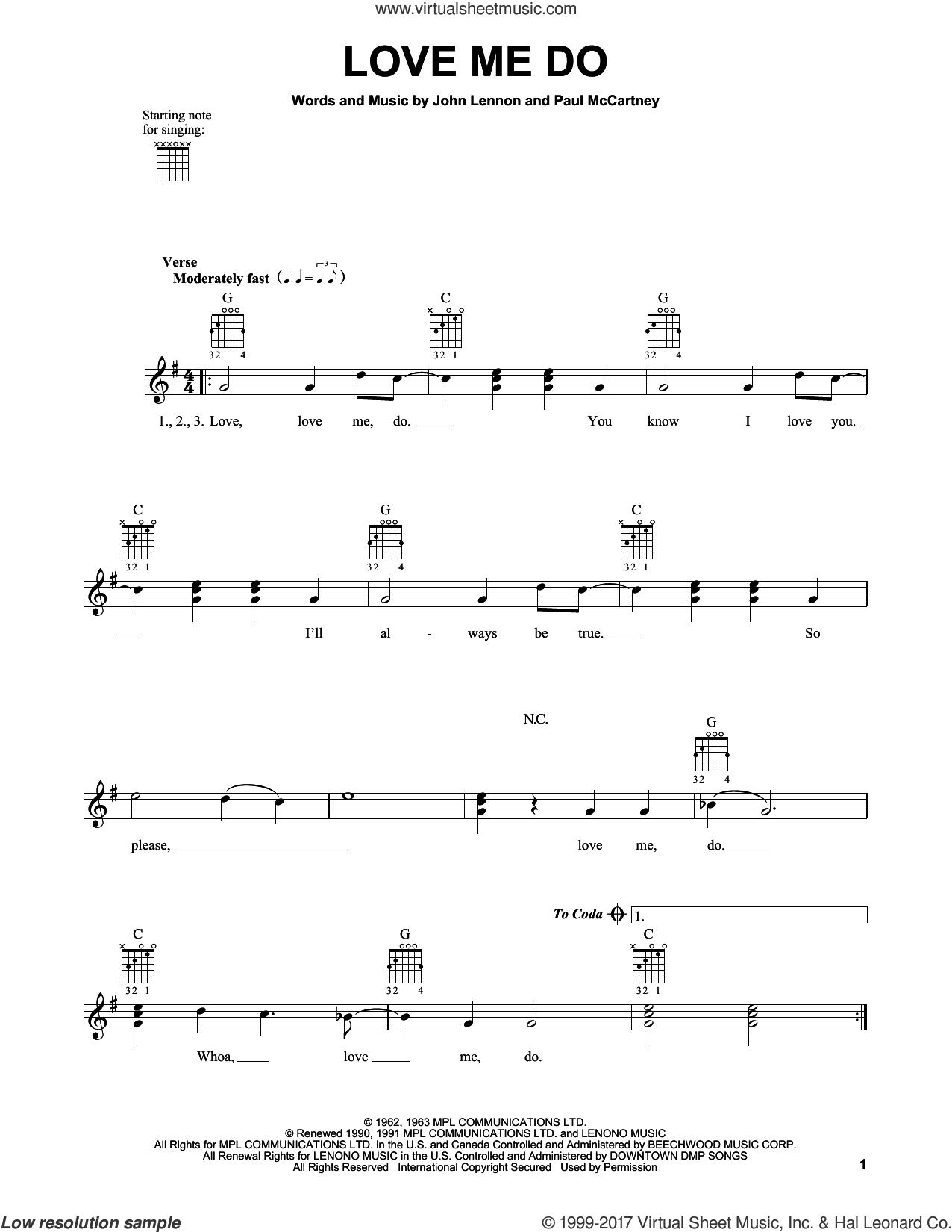 Love Me Do sheet music for guitar solo (chords) by The Beatles, John Lennon and Paul McCartney, easy guitar (chords)