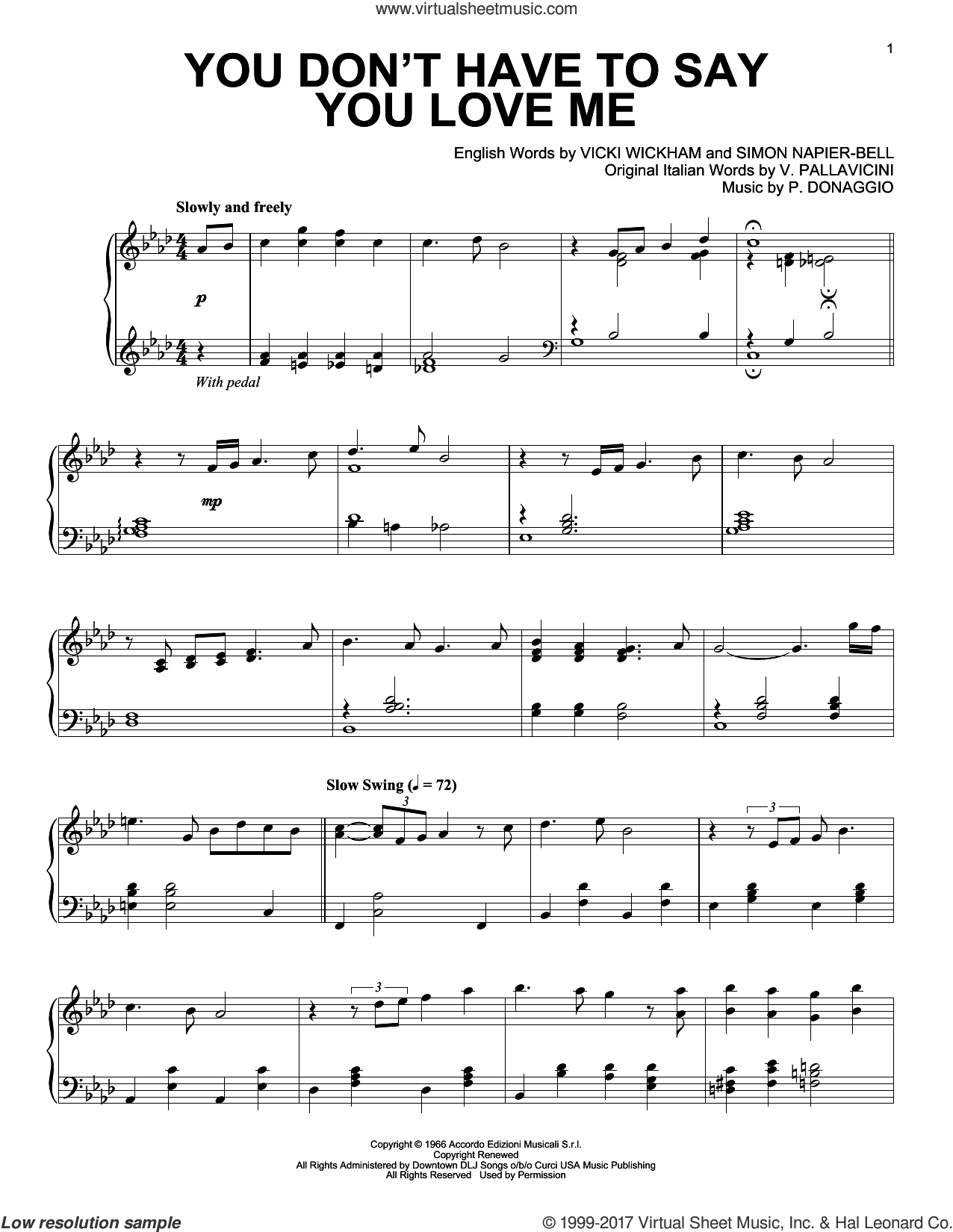 You Don't Have To Say You Love Me sheet music for piano solo by Elvis Presley, P. Donaggio, Simon Napier-Bell, V. Pallavicini and Vicki Wickham, intermediate skill level