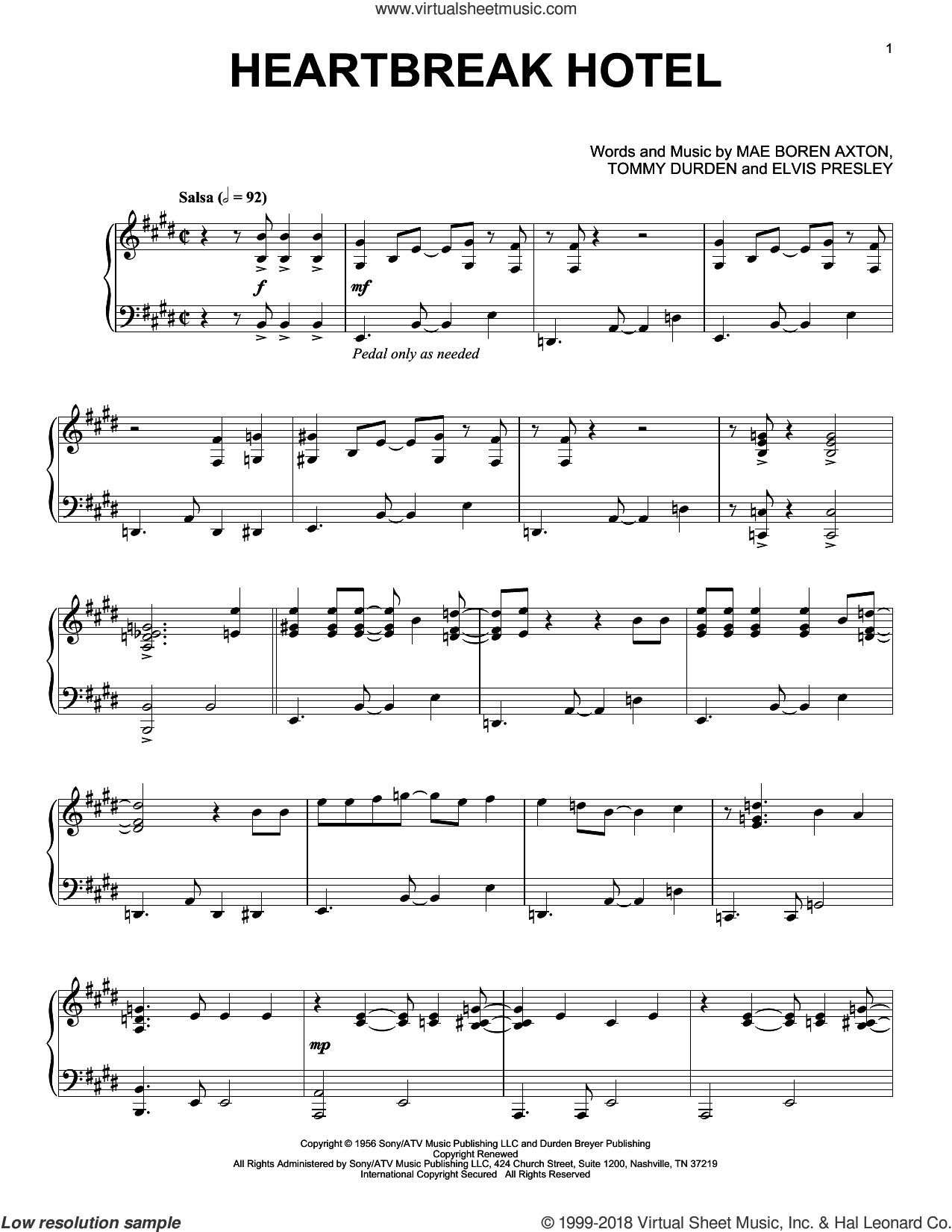 Heartbreak Hotel [Jazz version] sheet music for piano solo by Elvis Presley, Mae Boren Axton and Tommy Durden, intermediate skill level