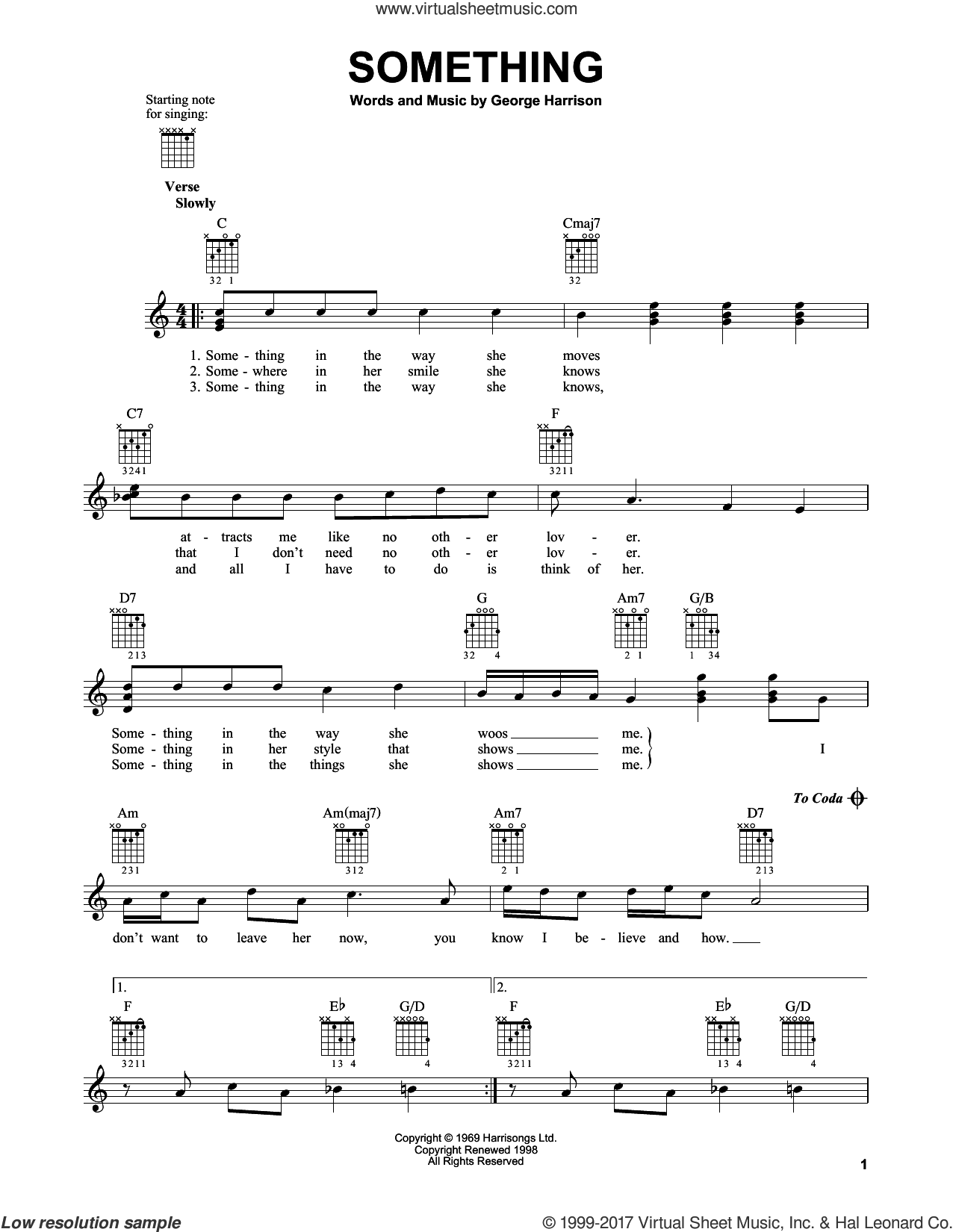 Something sheet music for guitar solo (chords) by The Beatles and George Harrison, easy guitar (chords)