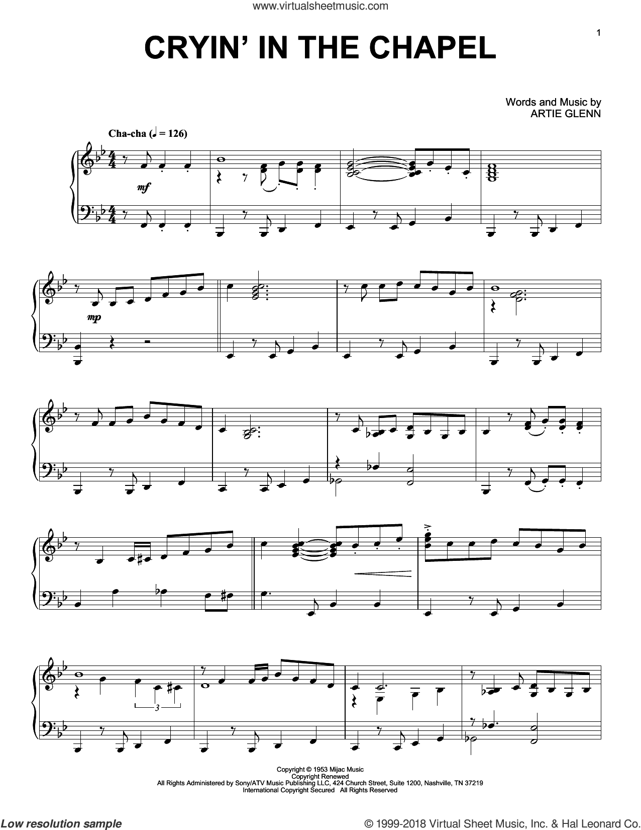 Cryin' In The Chapel sheet music for piano solo by Elvis Presley and Artie Glenn, intermediate