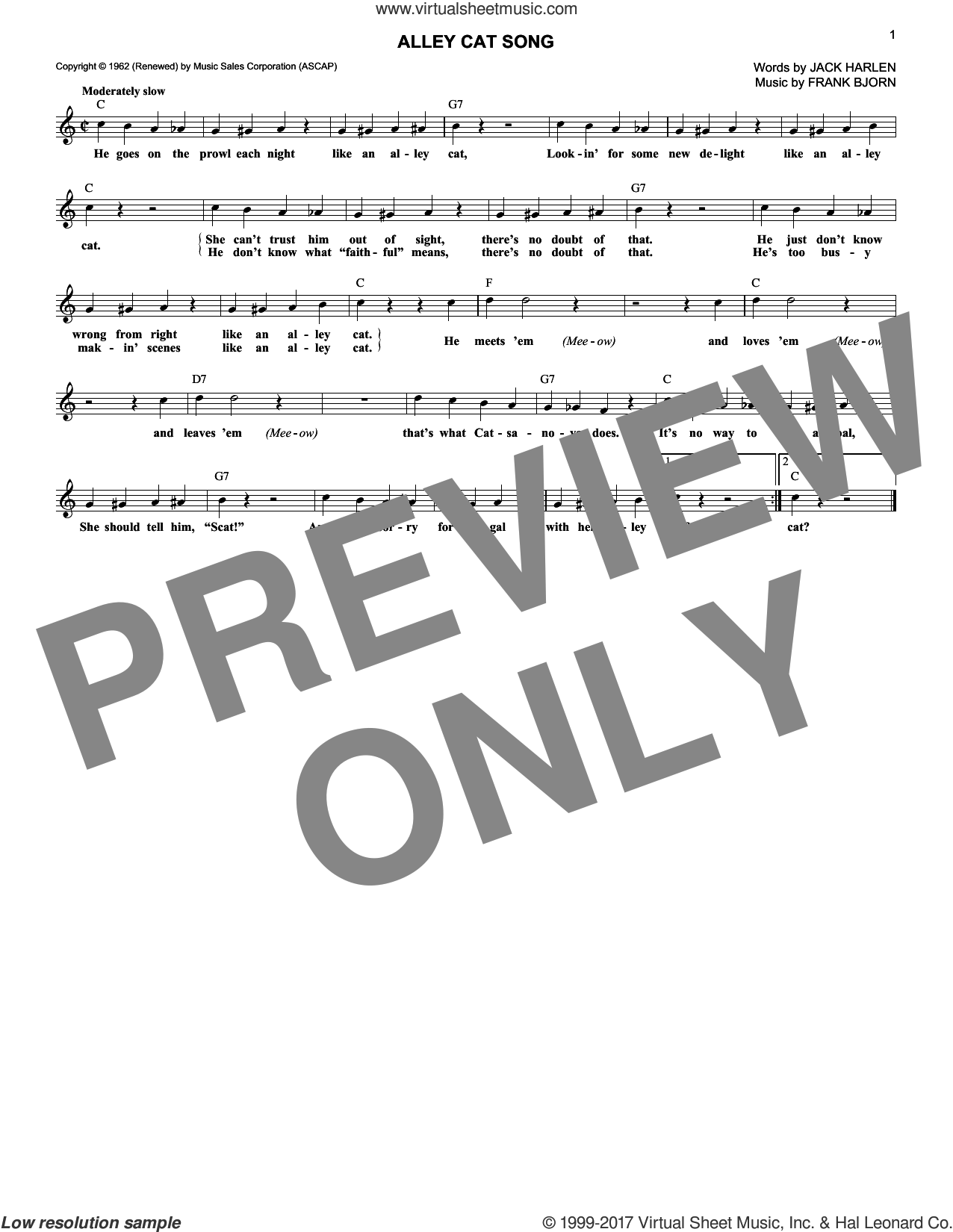 Alley Cat Song sheet music for voice and other instruments (fake book) by Frank Bjorn and Jack Harlen, intermediate skill level