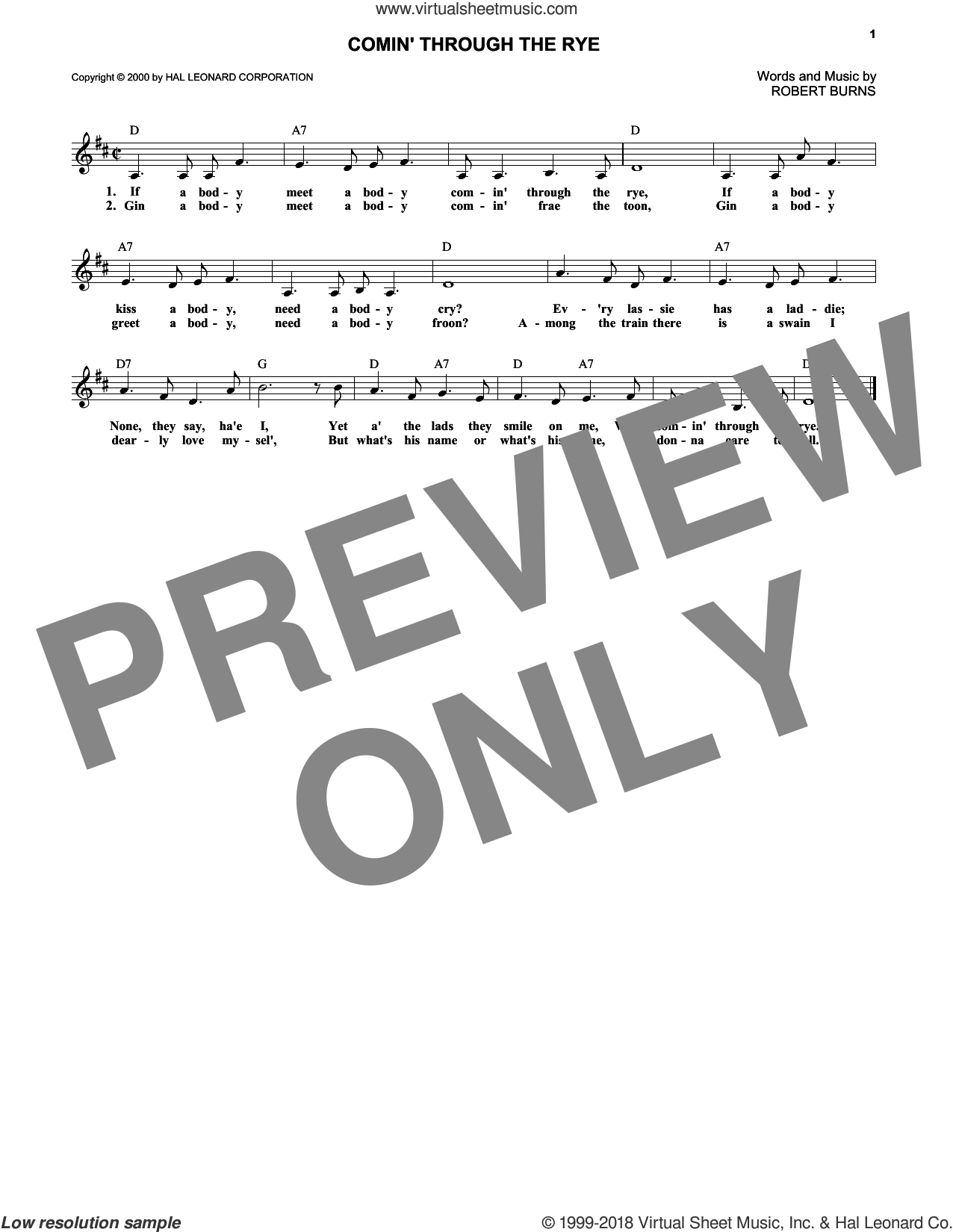 Comin' Through The Rye sheet music for voice and other instruments (fake book) by Robert Burns. Score Image Preview.