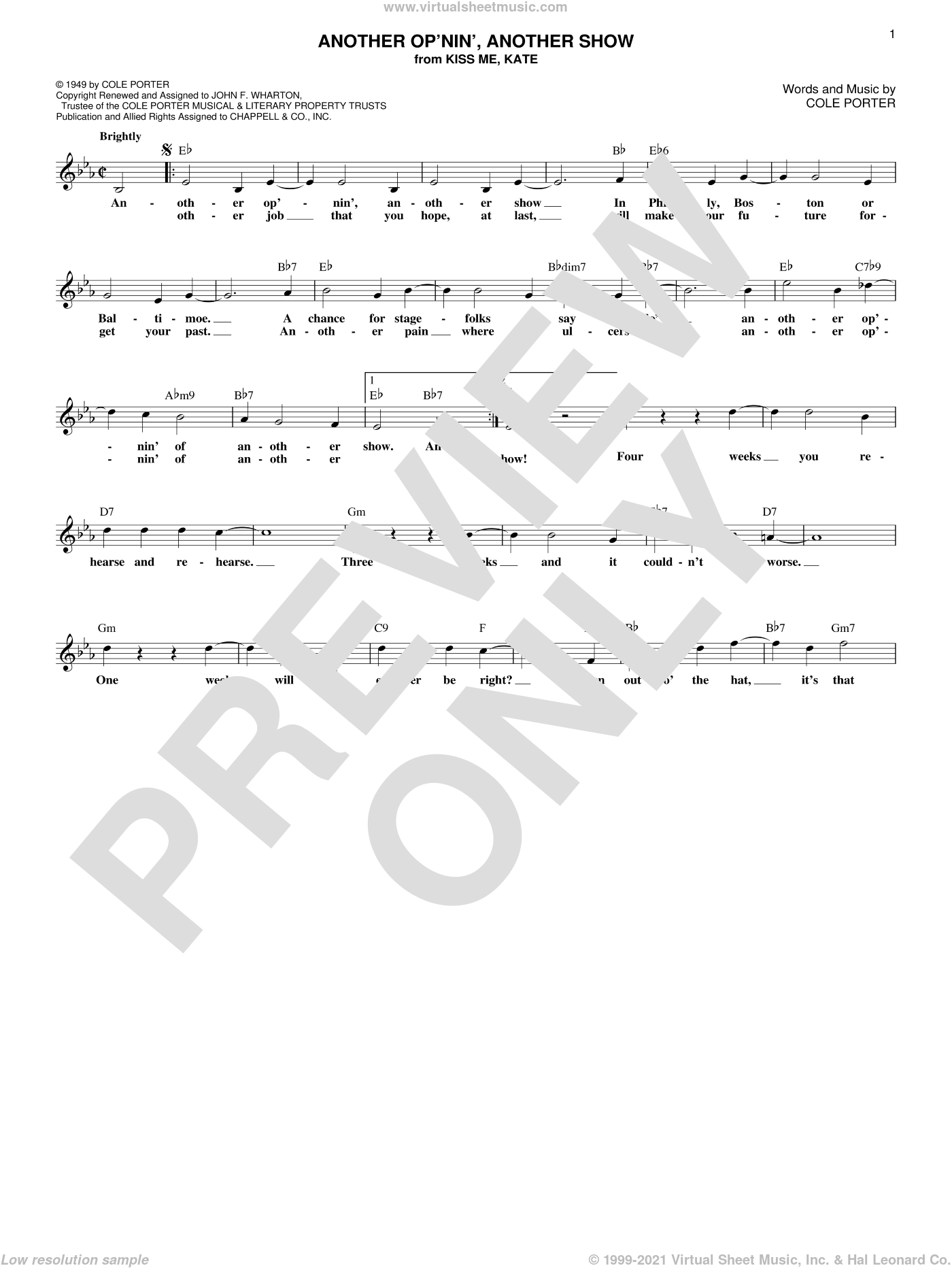 Another Op'nin', Another Show (from Kiss Me, Kate) sheet music for voice and other instruments (fake book) by Cole Porter, intermediate skill level