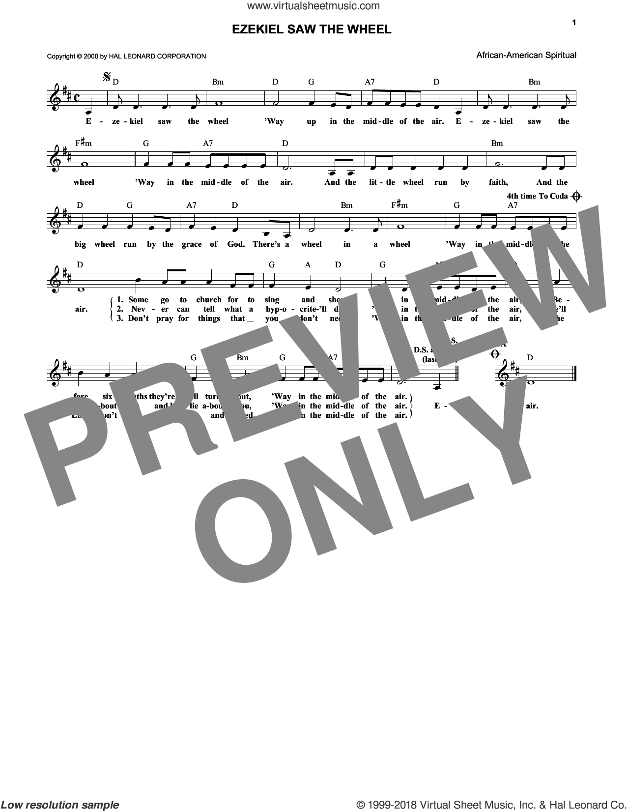 Ezekiel Saw The Wheel sheet music for voice and other instruments (fake book). Score Image Preview.