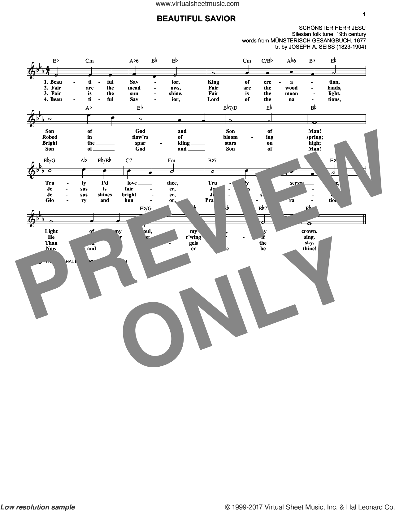 Beautiful Savior sheet music for voice and other instruments (fake book) by Joseph August Seiss and Musterisch Gesangbuch, intermediate. Score Image Preview.
