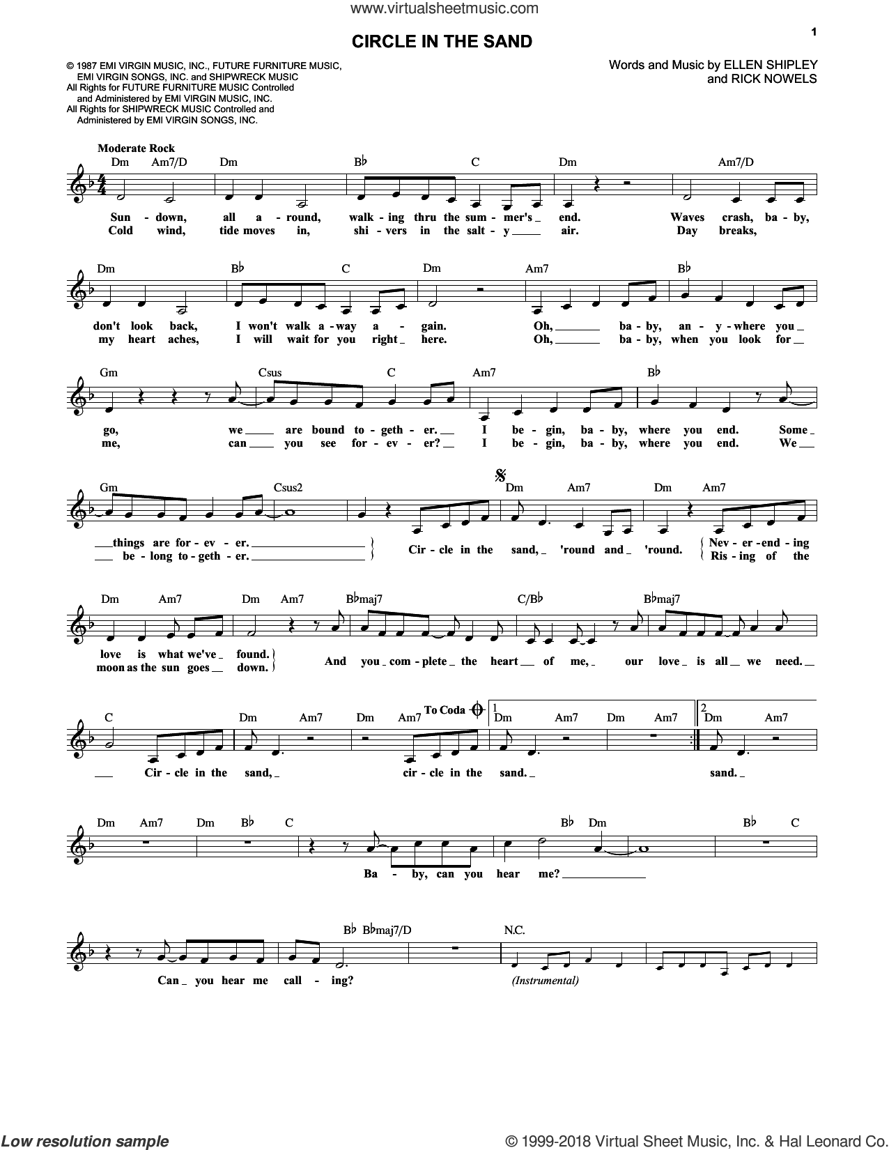 Circle In The Sand sheet music for voice and other instruments (fake book) by Belinda Carlisle, Ellen Shipley and Rick Nowels, intermediate. Score Image Preview.