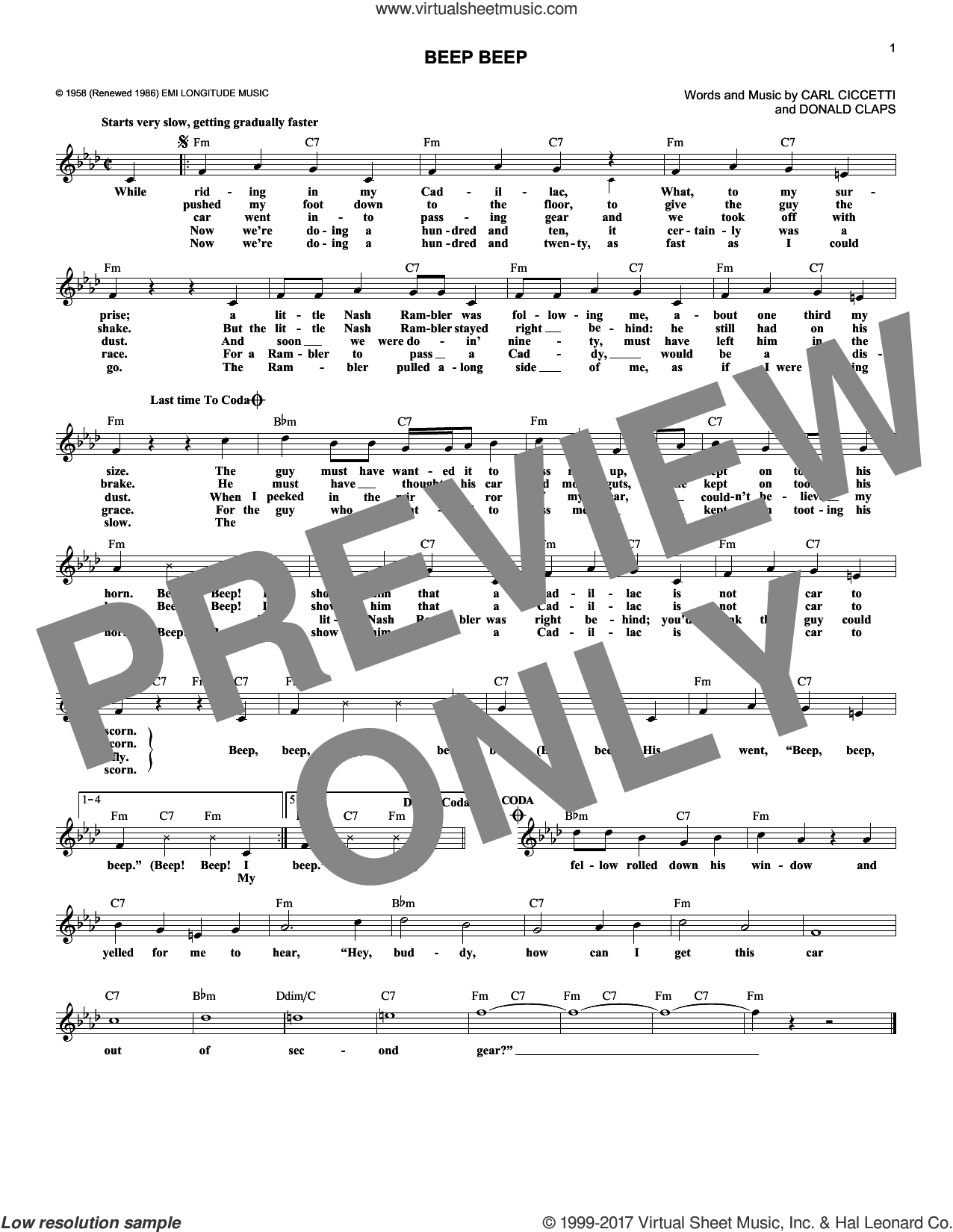 Beep Beep sheet music for voice and other instruments (fake book) by The Playmates, Carl Cicchetti and Donald Claps, intermediate skill level