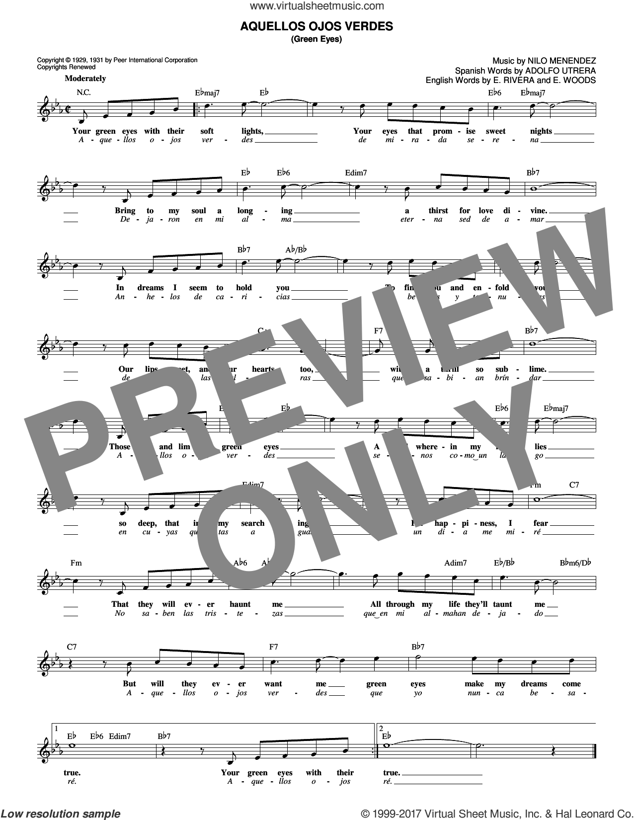 Aquellos Ojos Verdes (Green Eyes) sheet music for voice and other instruments (fake book) by Jimmy Dorsey and Nilo Menendez. Score Image Preview.