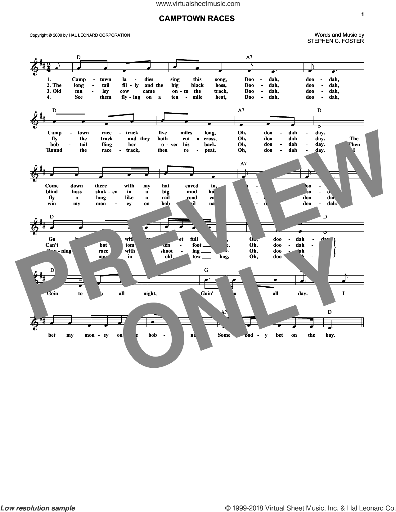 Camptown Races sheet music for voice and other instruments (fake book) by Stephen Foster, intermediate skill level