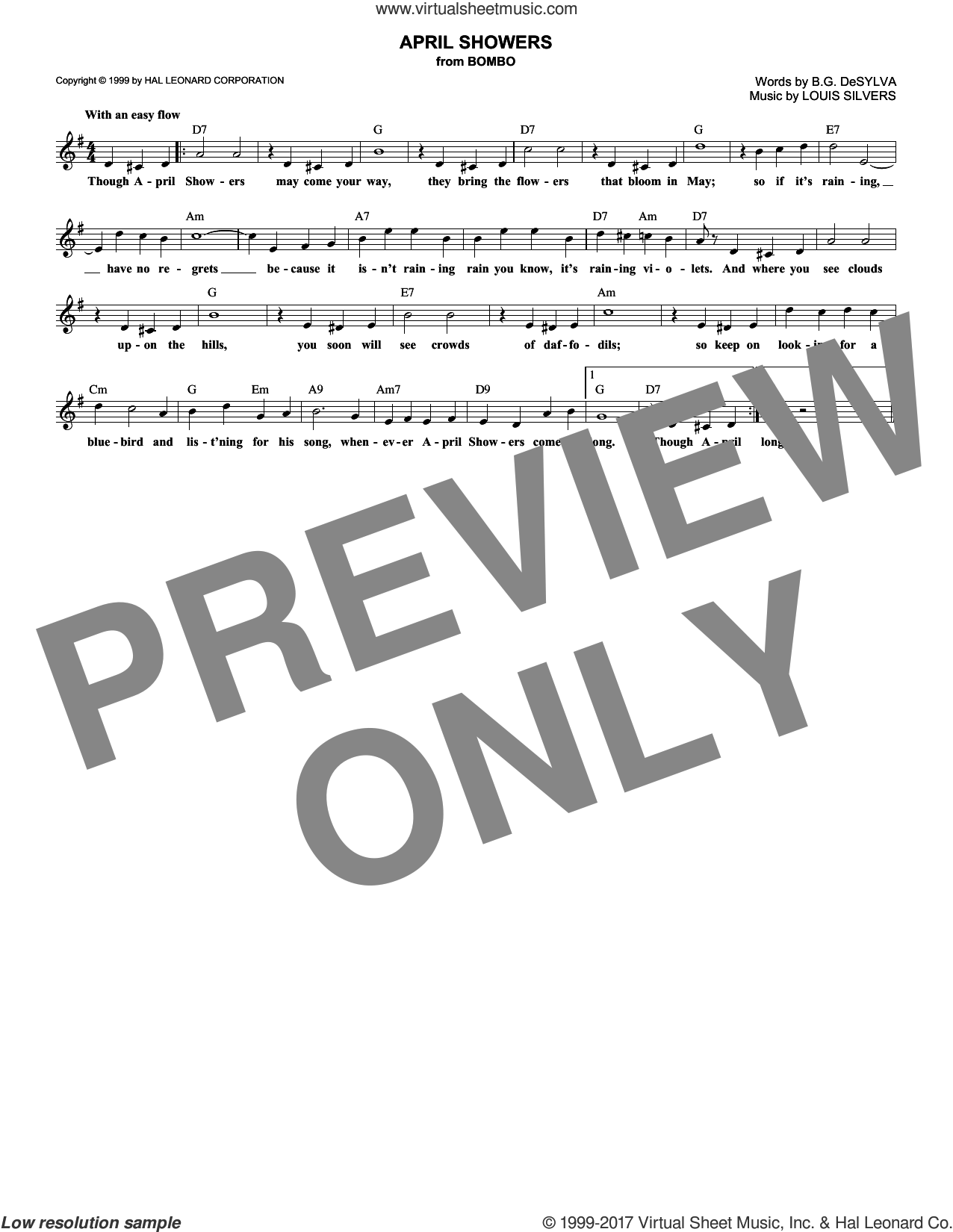 April Showers sheet music for voice and other instruments (fake book) by Buddy DeSylva, Al Jolson and Louis Silvers, intermediate skill level