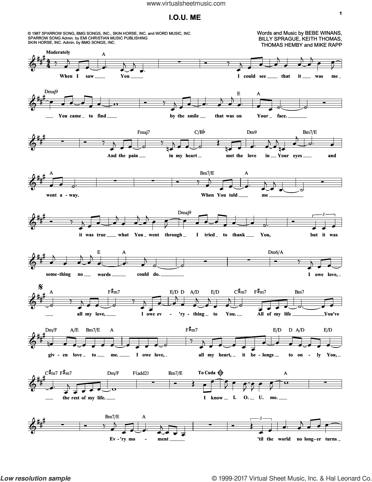 I.O.U. Me sheet music for voice and other instruments (fake book) by BeBe and CeCe Winans, BeBe Winans, Billy Sprague, Keith Thomas and Mike Rapp, wedding score, intermediate