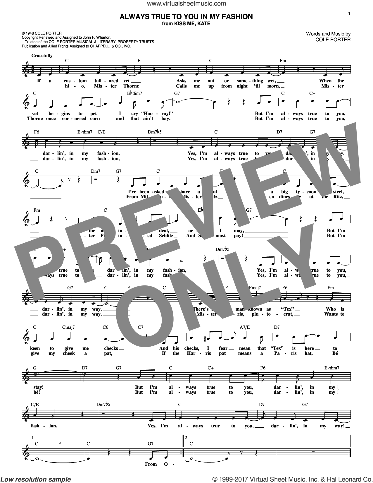 Always True To You In My Fashion sheet music for voice and other instruments (fake book) by Cole Porter, Ann Miller & Tommy Rall, Jane Harvey and Jo Stafford, intermediate. Score Image Preview.