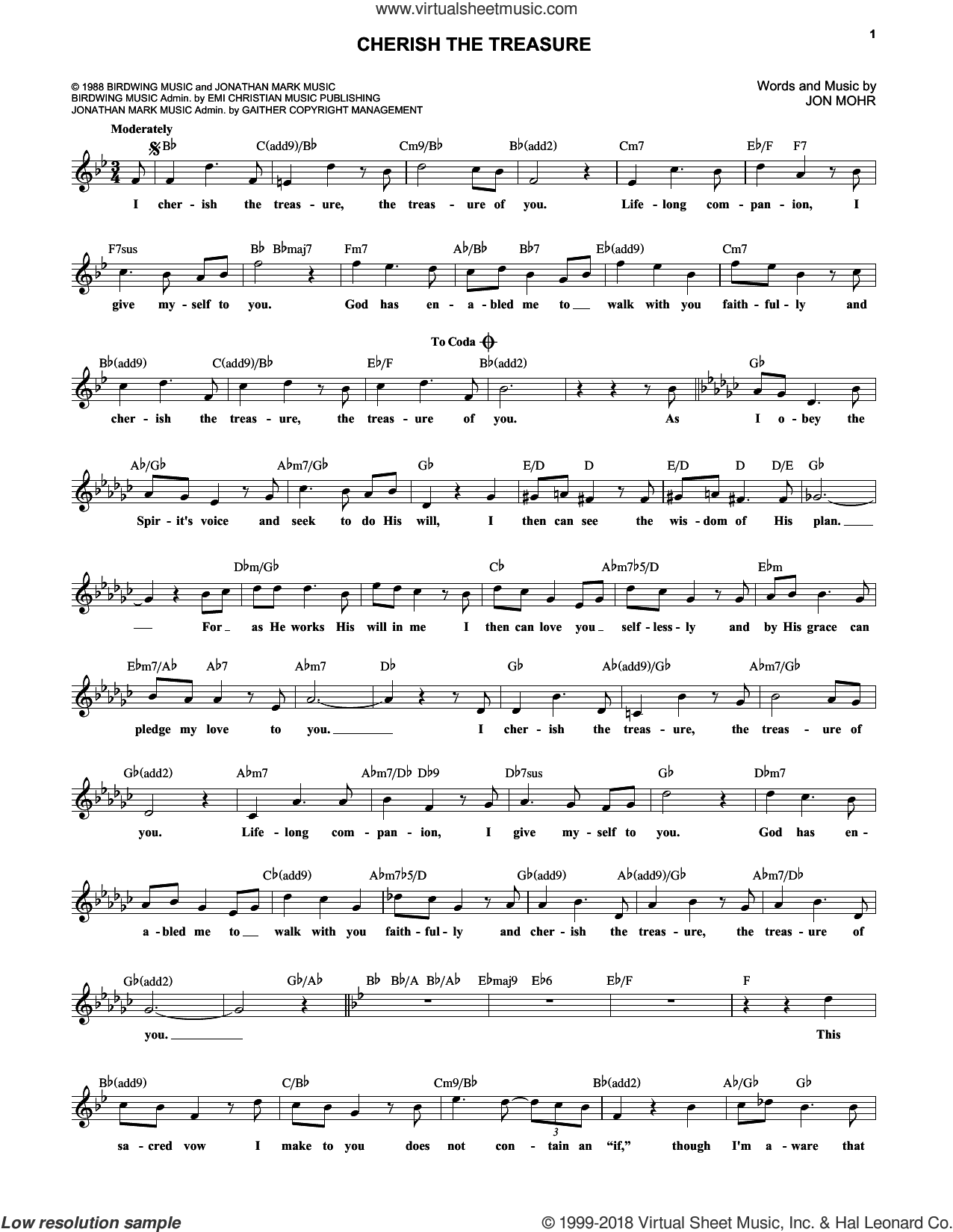 Cherish The Treasure sheet music for voice and other instruments (fake book) by Jon Mohr, wedding score, intermediate skill level