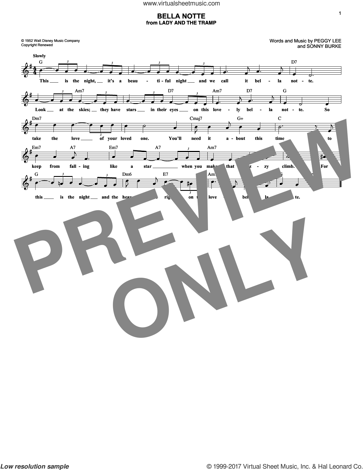 Bella Notte (from Lady And The Tramp) sheet music for voice and other instruments (fake book) by Peggy Lee and Sonny Burke, intermediate skill level