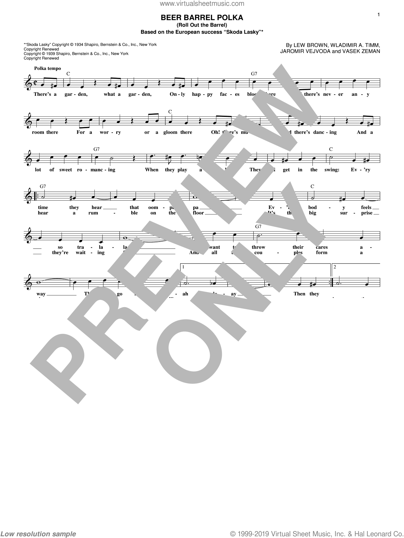 Beer Barrel Polka (Roll Out The Barrel) sheet music for voice and other instruments (fake book) by Bobby Vinton and Lew Brown, intermediate. Score Image Preview.