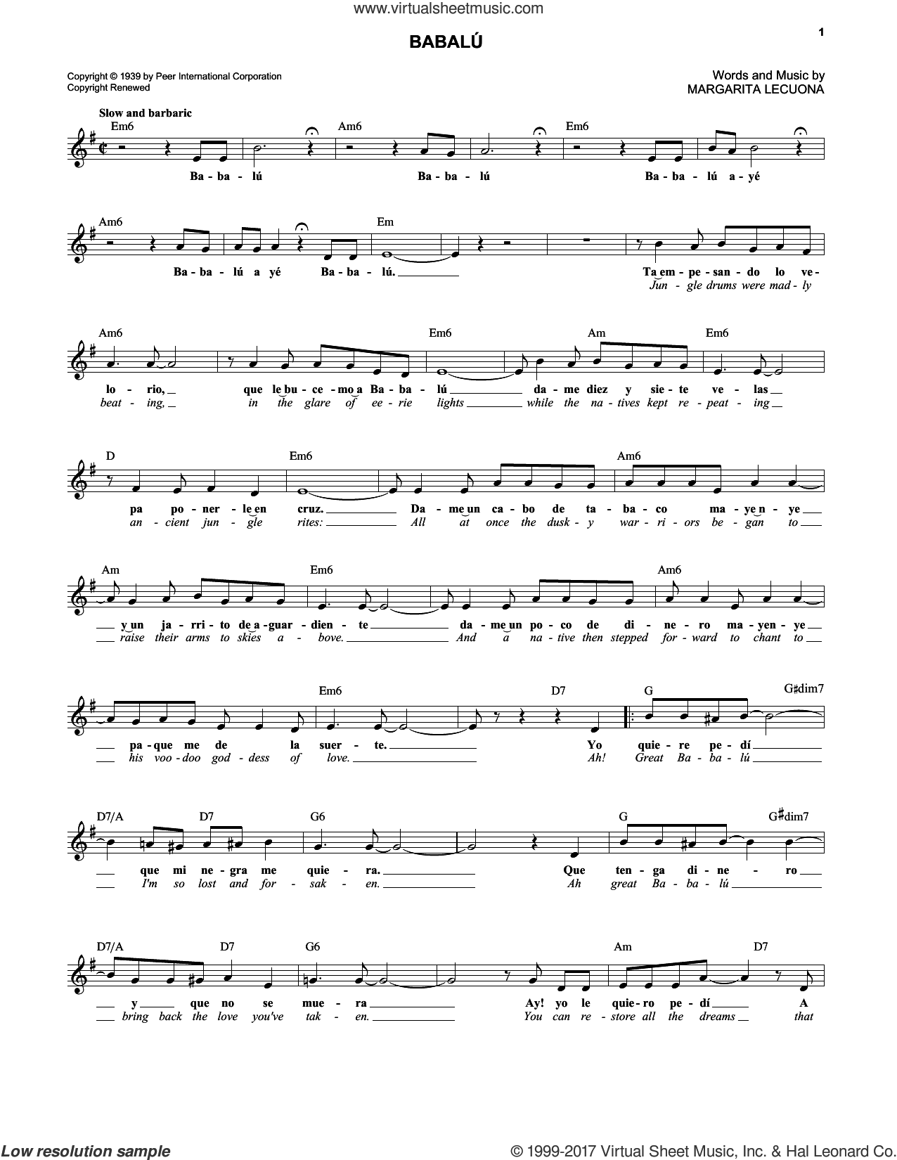 Babalu sheet music for voice and other instruments (fake book) by Margarita Lecuona. Score Image Preview.