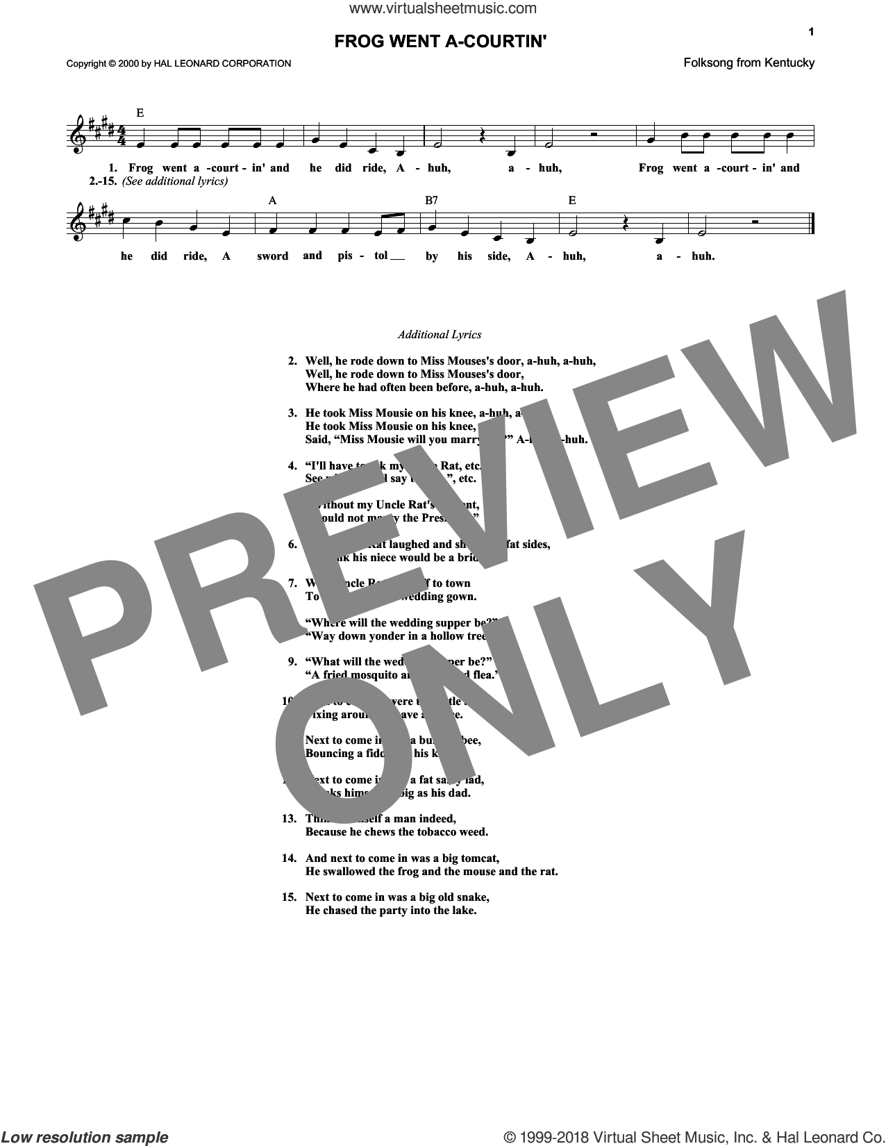 Frog Went A-Courtin' sheet music for voice and other instruments (fake book), intermediate skill level