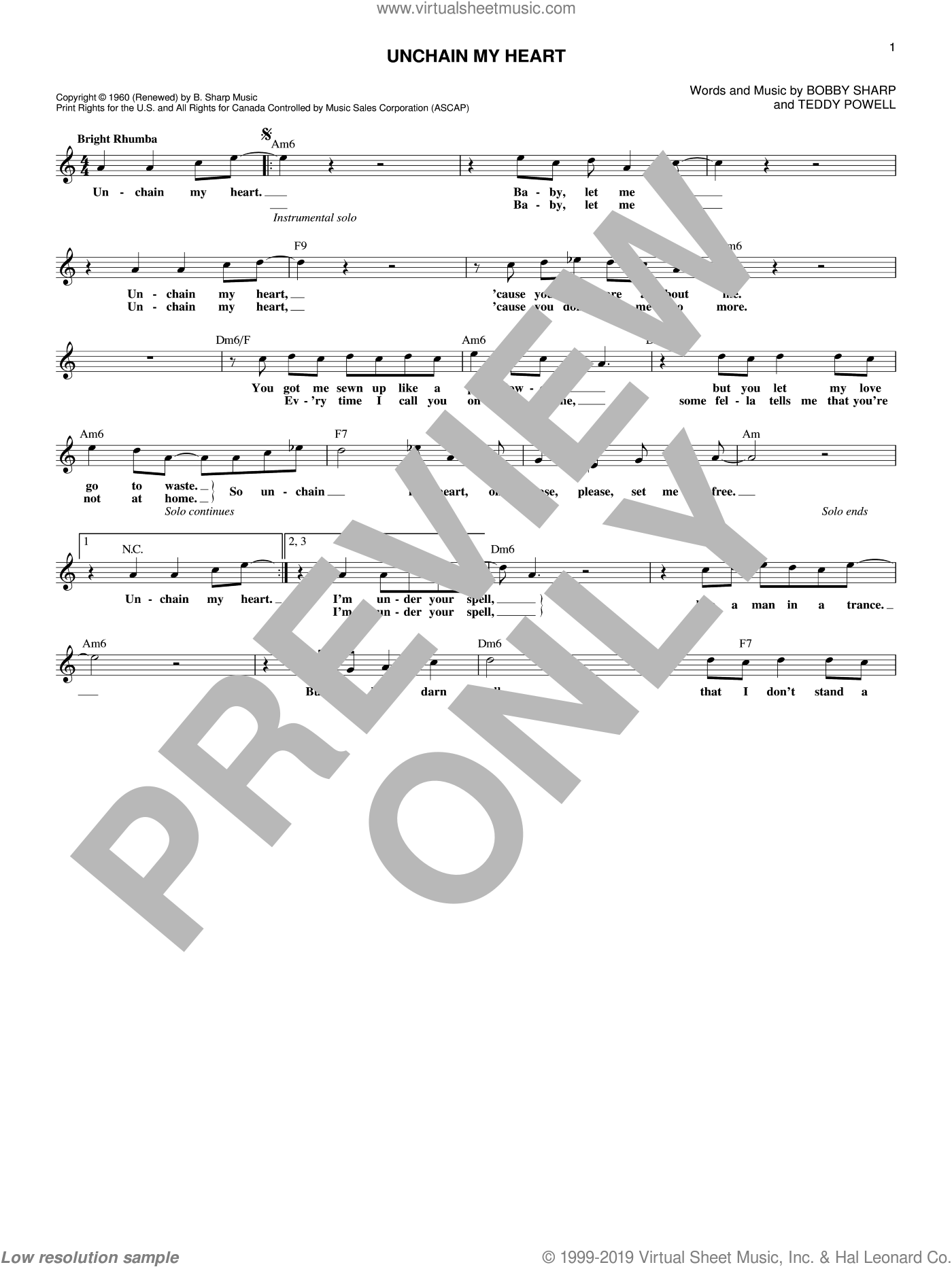 Unchain My Heart sheet music for voice and other instruments (fake book) by Ray Charles, Bobby Sharp and Teddy Powell, intermediate skill level