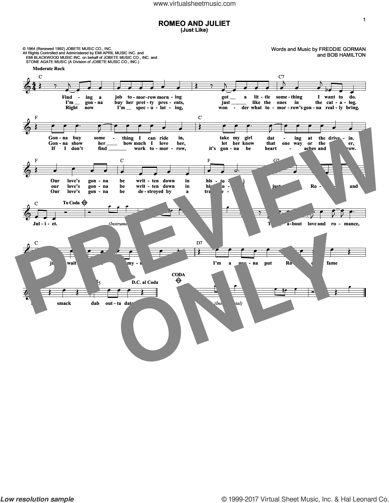 Romeo and Juliet (Just Like) sheet music for voice and other instruments (fake book) by Reflections. Score Image Preview.