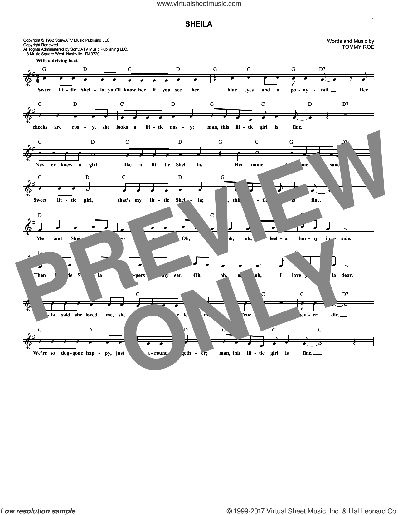 Sheila sheet music for voice and other instruments (fake book) by Tommy Roe, intermediate. Score Image Preview.