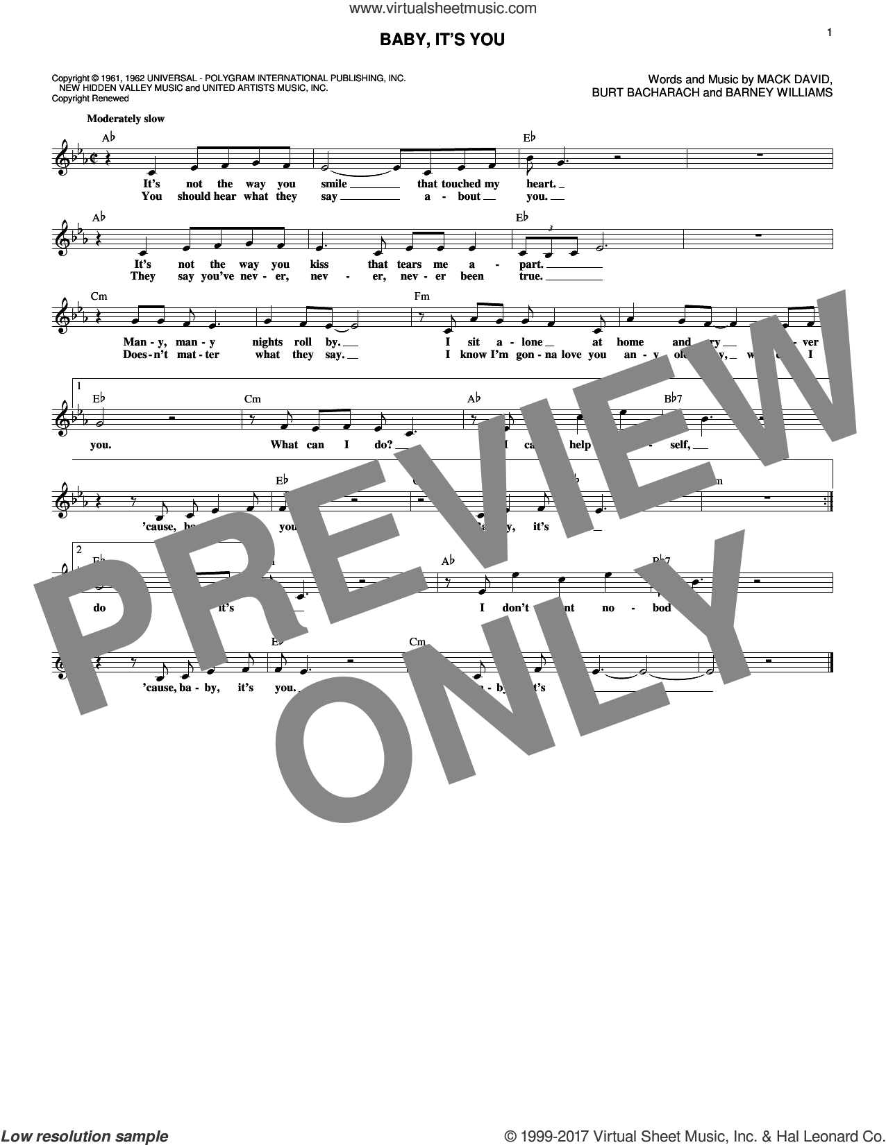 Baby, It's You sheet music for voice and other instruments (fake book) by Burt Bacharach, Smith, The Beatles, Barney Williams and Mack David, intermediate skill level