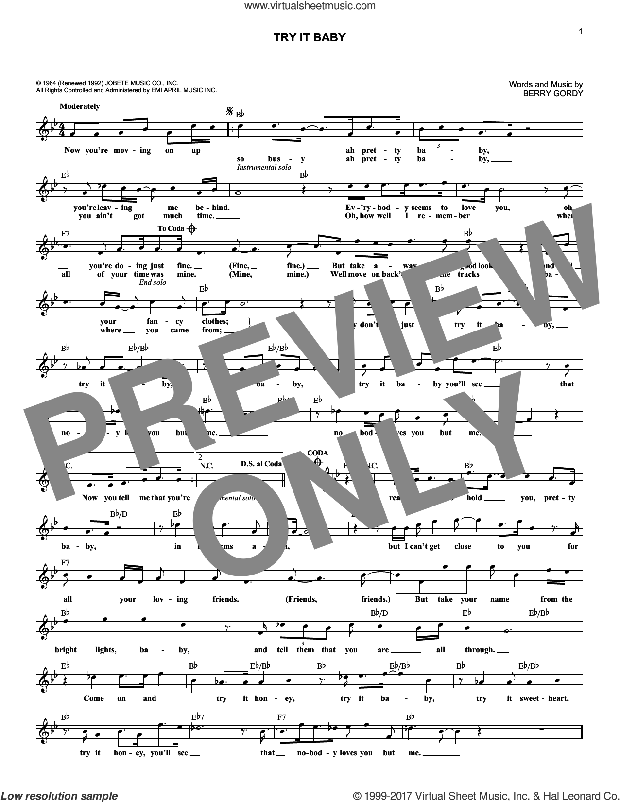 Try It Baby sheet music for voice and other instruments (fake book) by Berry Gordy and Marvin Gaye, intermediate