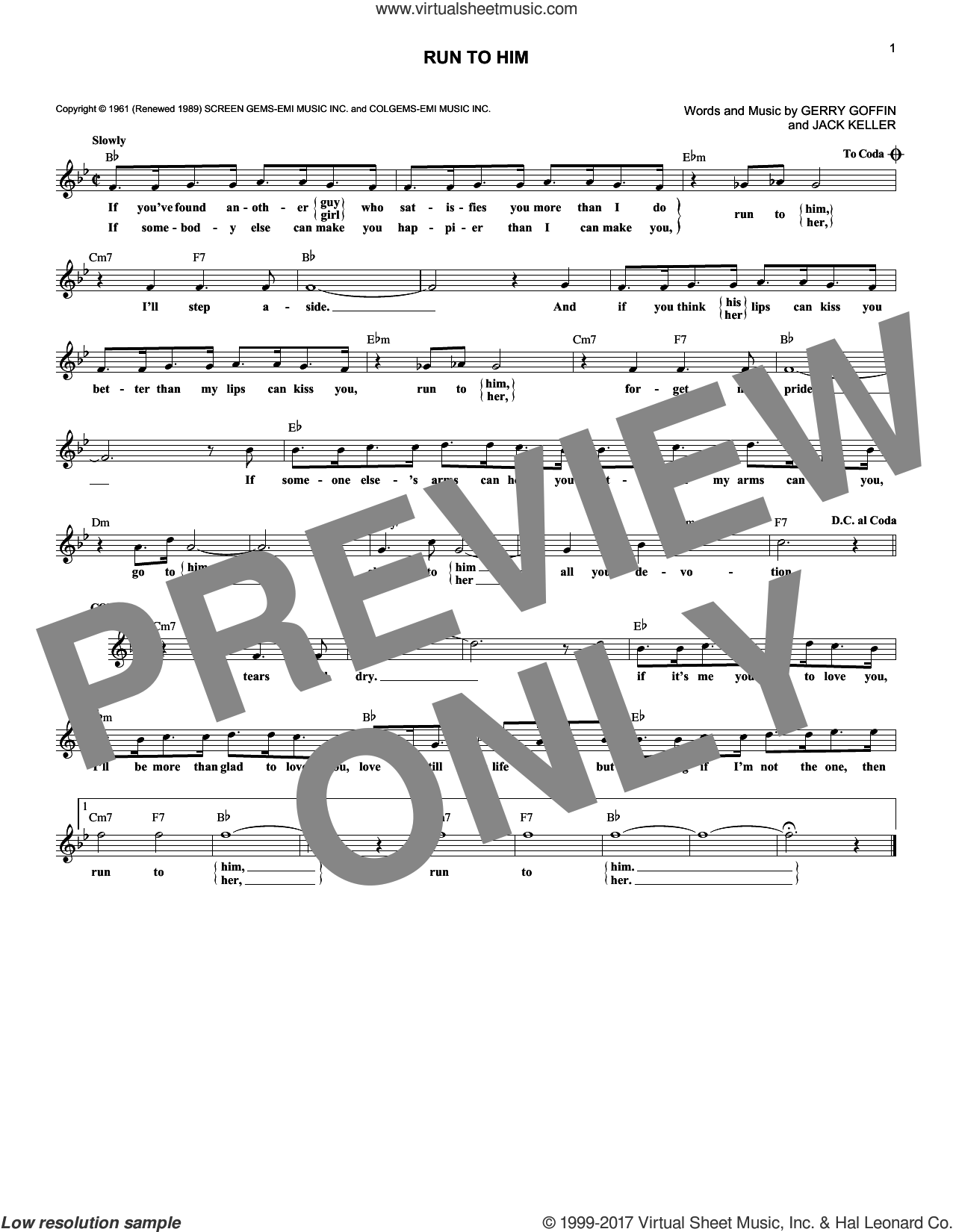 Run To Him sheet music for voice and other instruments (fake book) by Bobby Vee, Gerry Goffin and Jack Keller, intermediate. Score Image Preview.