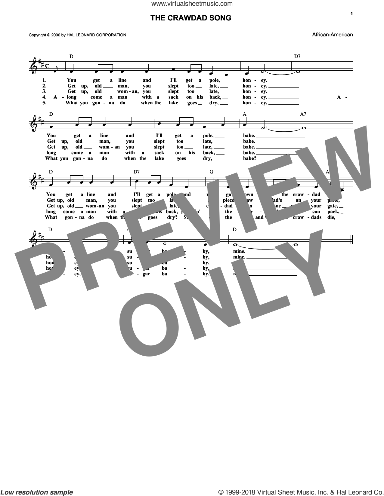 The Crawdad Song sheet music for voice and other instruments (fake book). Score Image Preview.