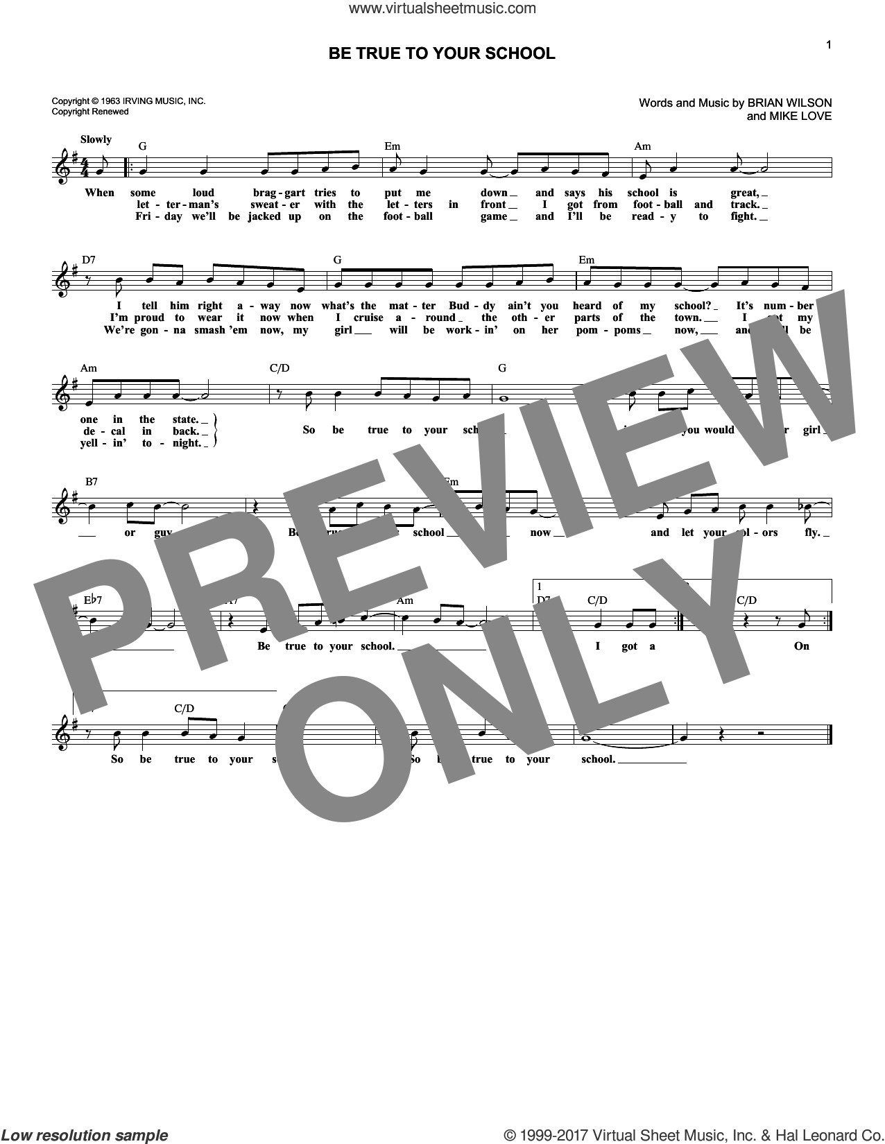 Be True To Your School sheet music for voice and other instruments (fake book) by Mike Love, The Beach Boys and Brian Wilson. Score Image Preview.