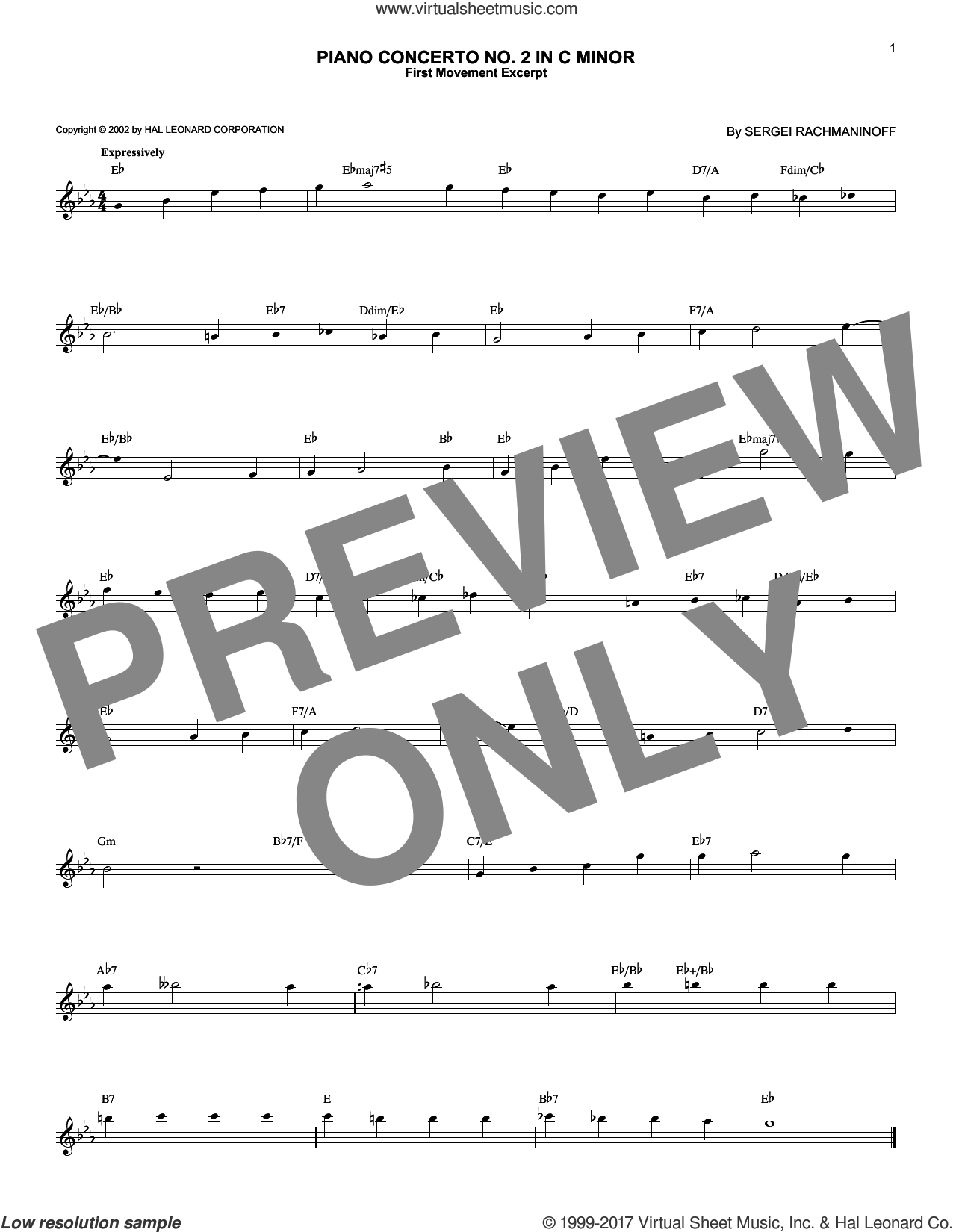 Piano Concerto No. 2 In C Minor, Op. 18 sheet music for voice and other instruments (fake book) by Serjeij Rachmaninoff, classical score, intermediate skill level