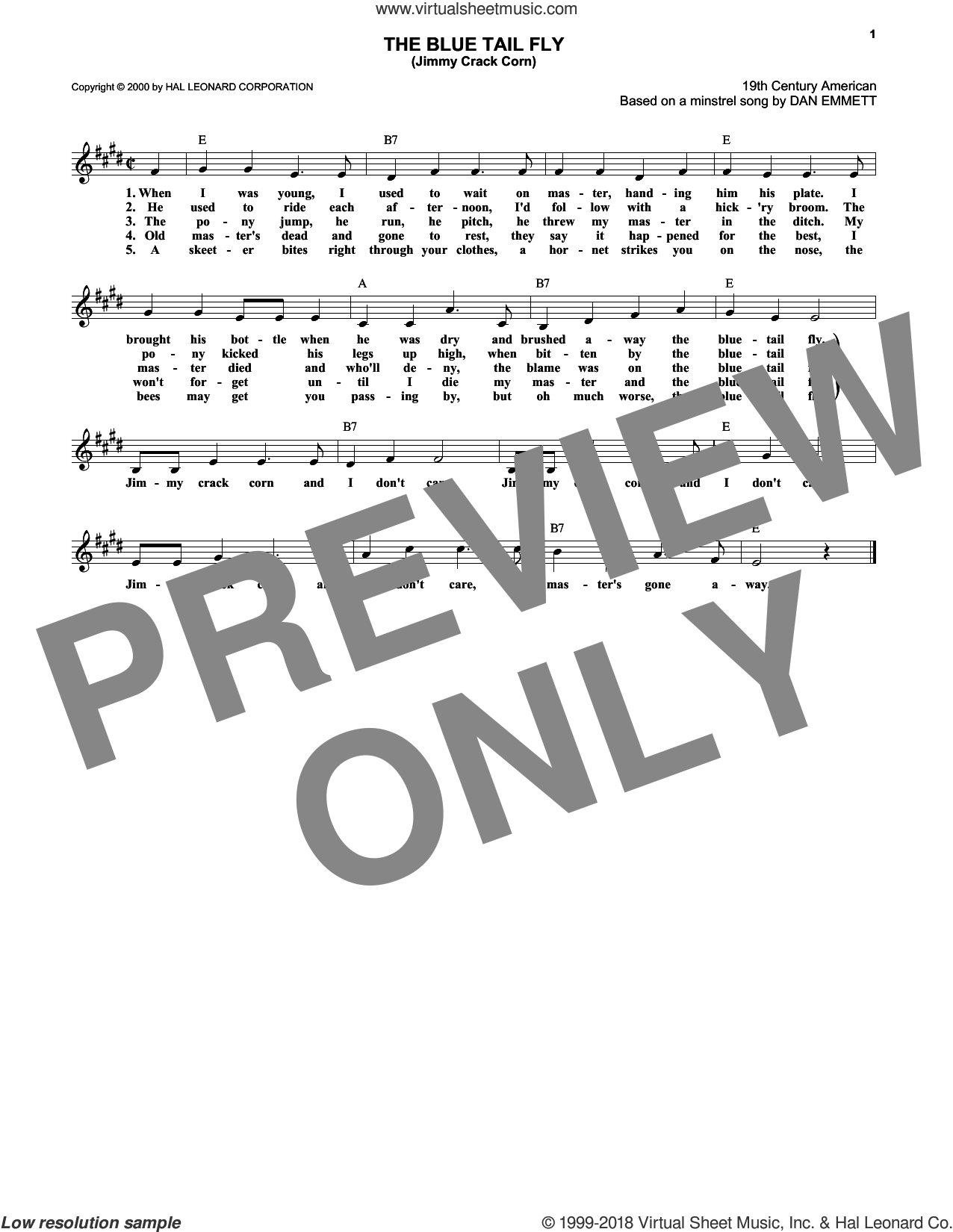 The Blue Tail Fly (Jimmy Crack Corn) sheet music for voice and other instruments (fake book) by Daniel Decatur Emmett, intermediate voice. Score Image Preview.