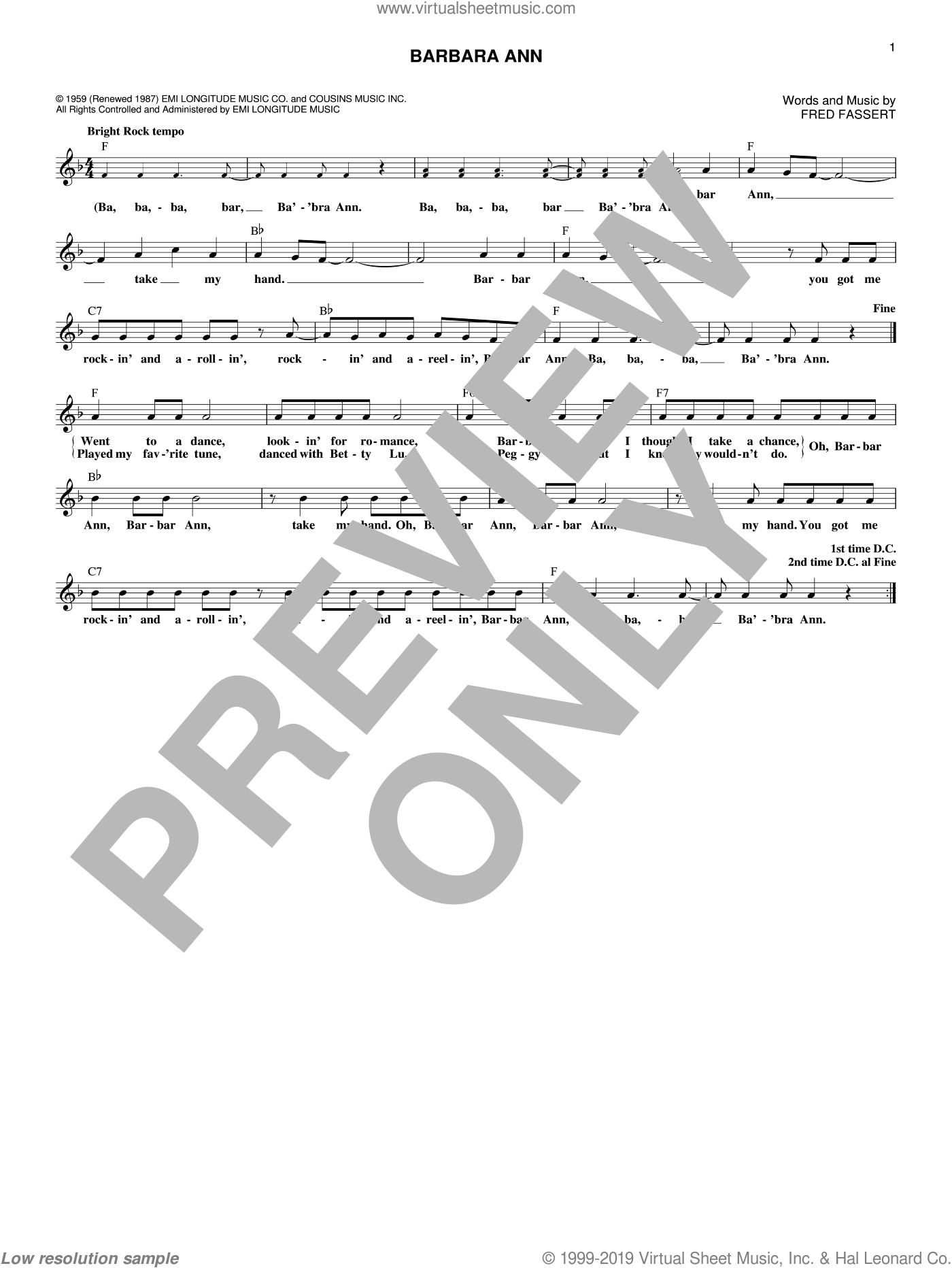 Barbara Ann sheet music for voice and other instruments (fake book) by The Beach Boys, The Regents and Fred Fassert, intermediate skill level