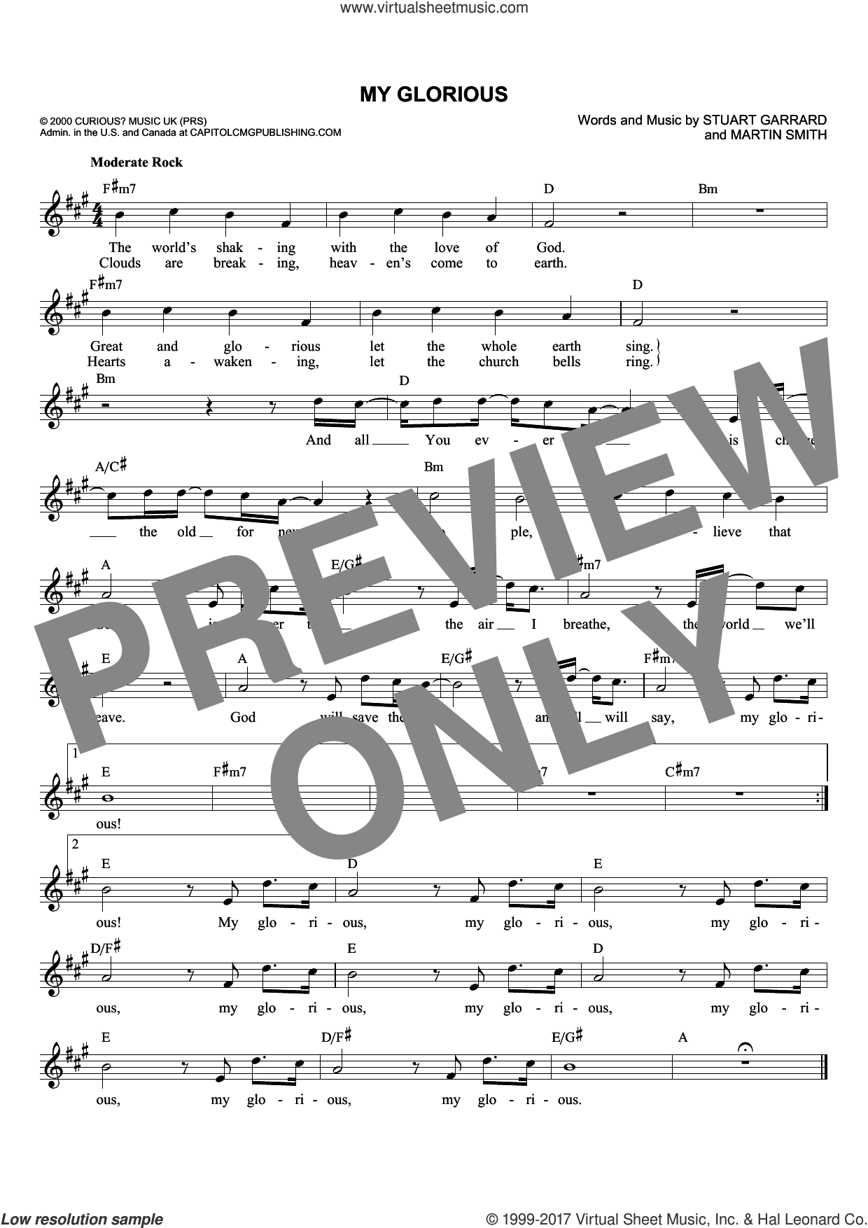 My Glorious sheet music for voice and other instruments (fake book) by Delirious?, Martin Smith and Stuart Garrard, intermediate skill level
