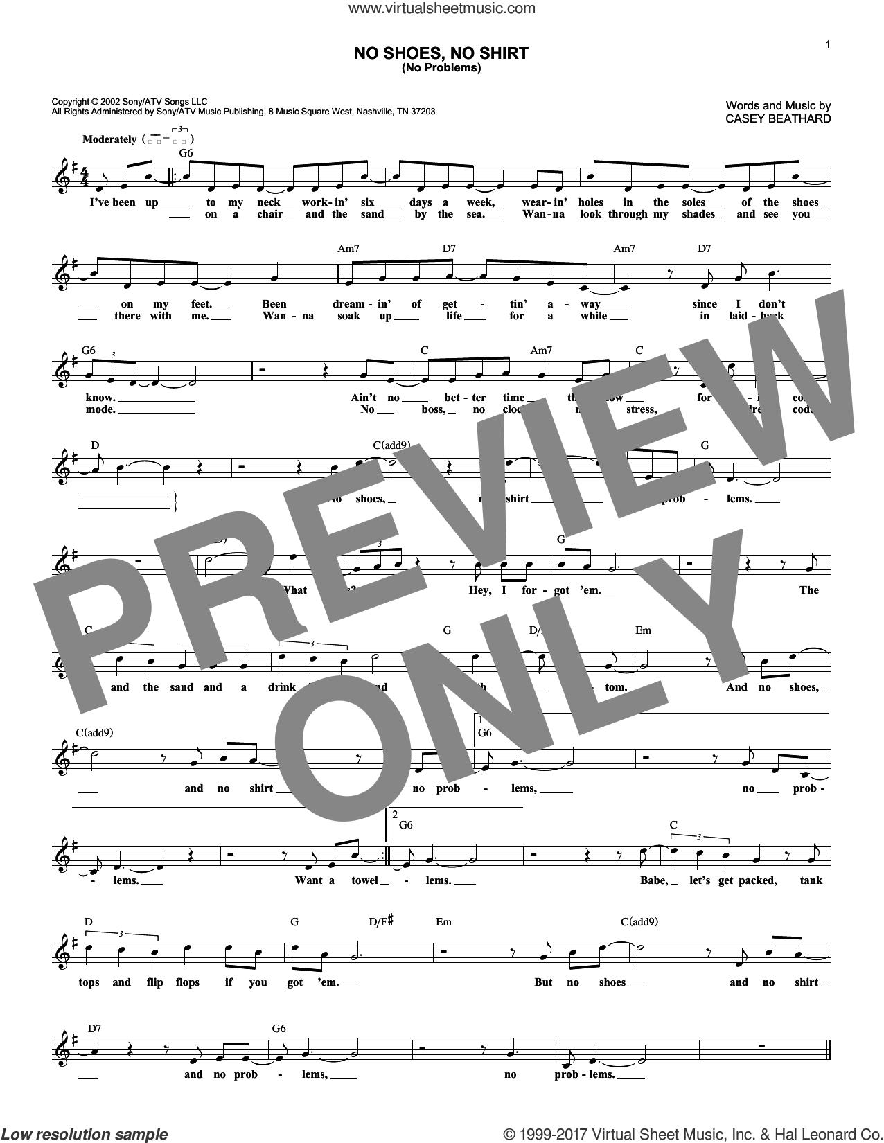 No Shoes No Shirt (No Problems) sheet music for voice and other instruments (fake book) by Kenny Chesney and Casey Beathard, intermediate skill level