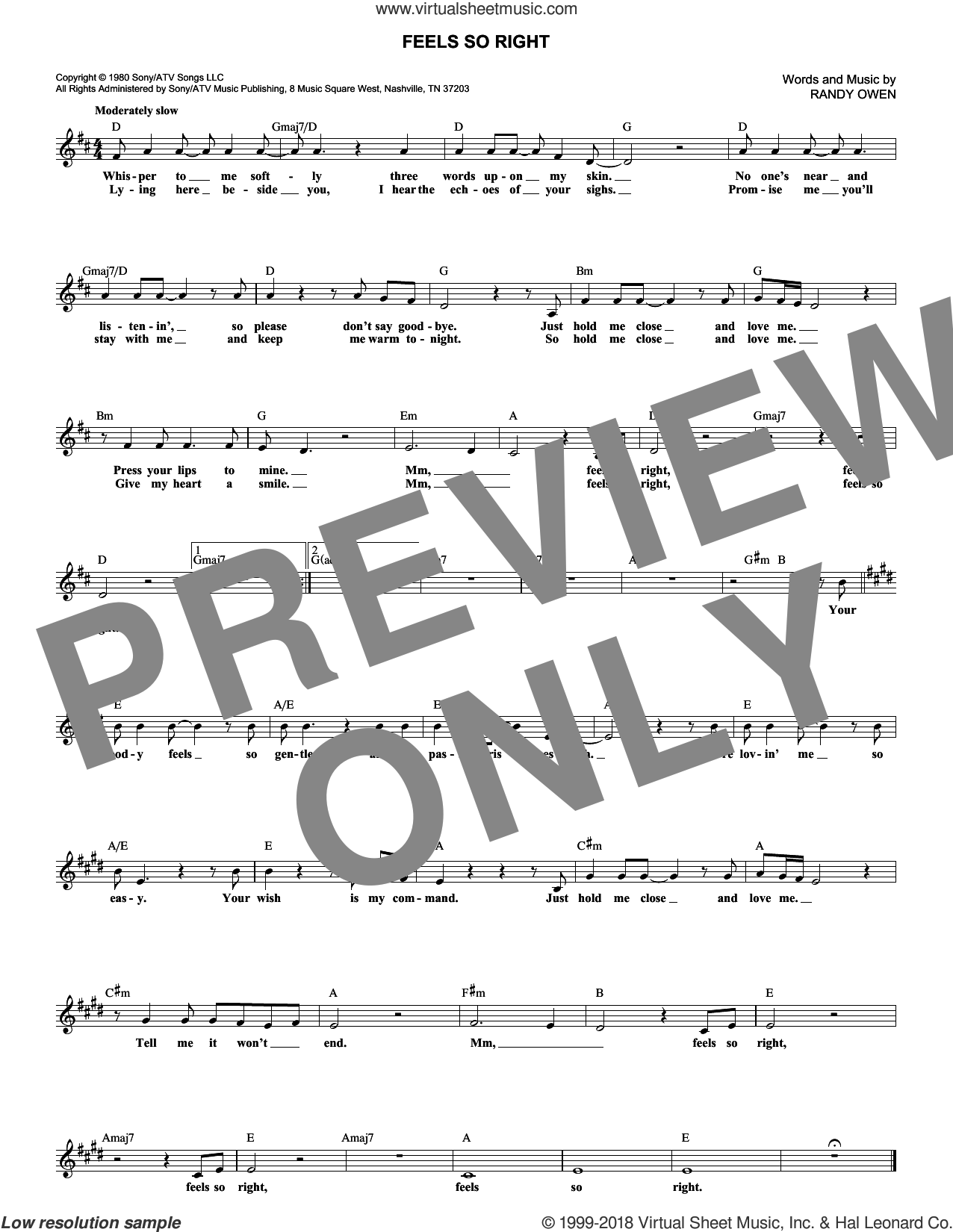 Feels So Right sheet music for voice and other instruments (fake book) by Alabama and Randy Owen, intermediate skill level
