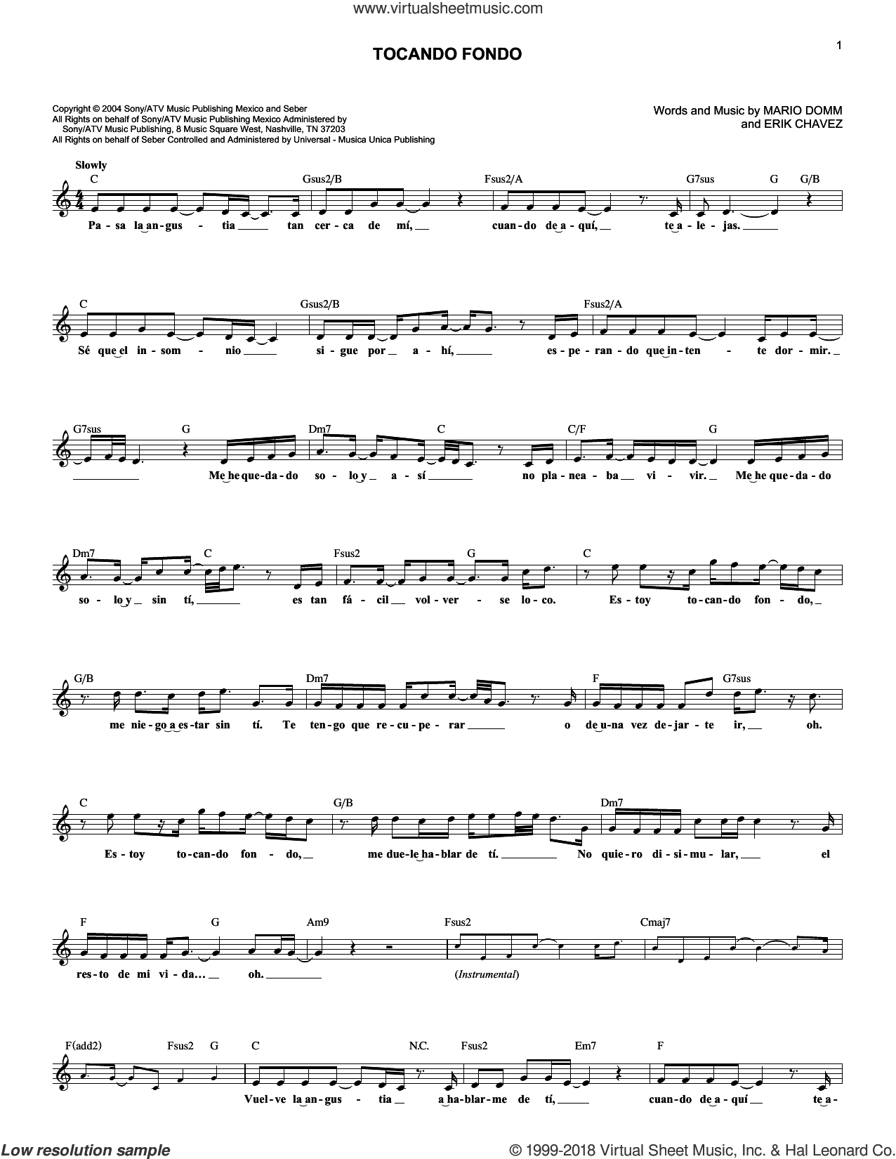 Tocando Fondo sheet music for voice and other instruments (fake book) by Erik Chavez and Mario Domm, wedding score, intermediate skill level