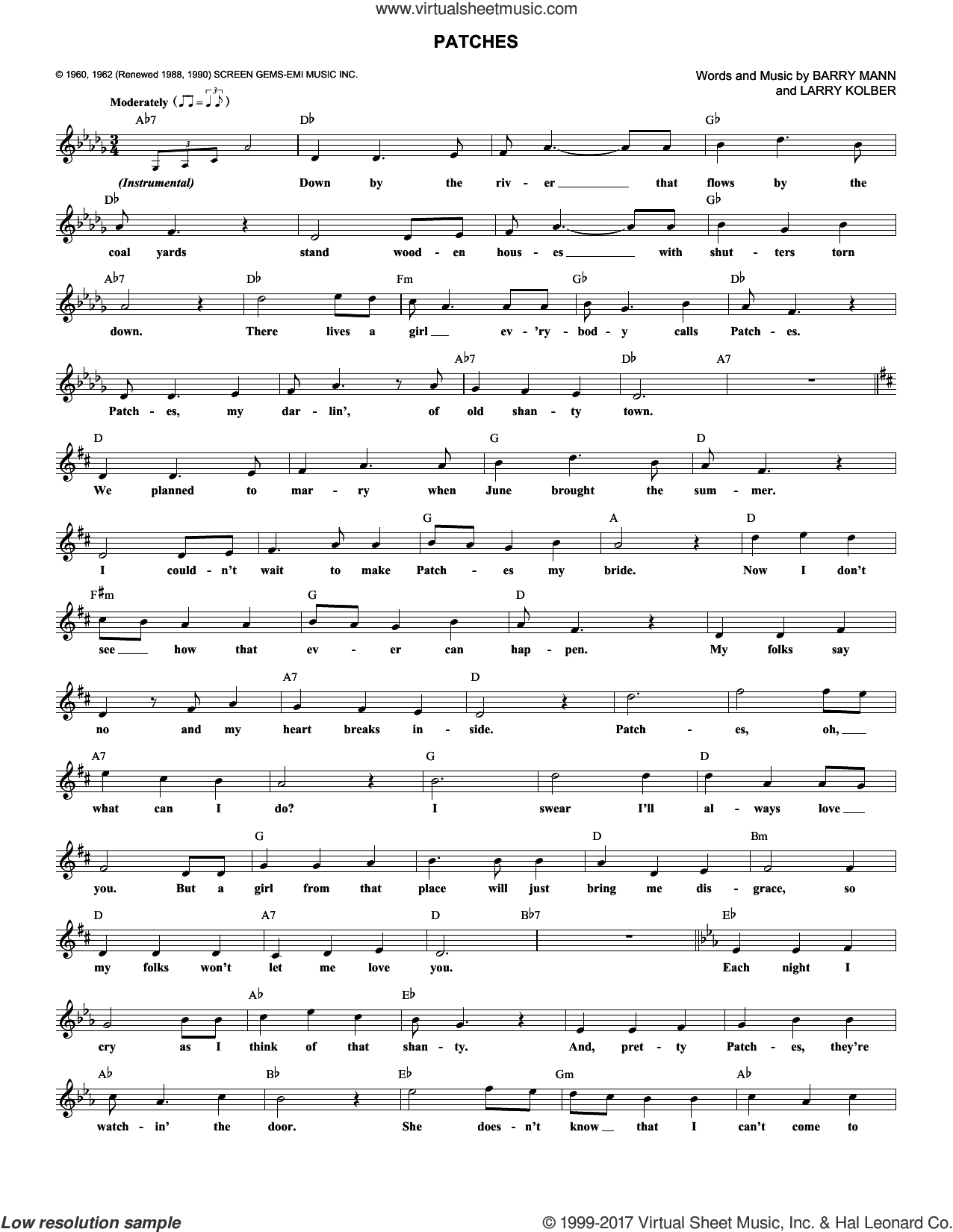 Patches sheet music for voice and other instruments (fake book) by Dickey Lee and Barry Mann, intermediate voice. Score Image Preview.