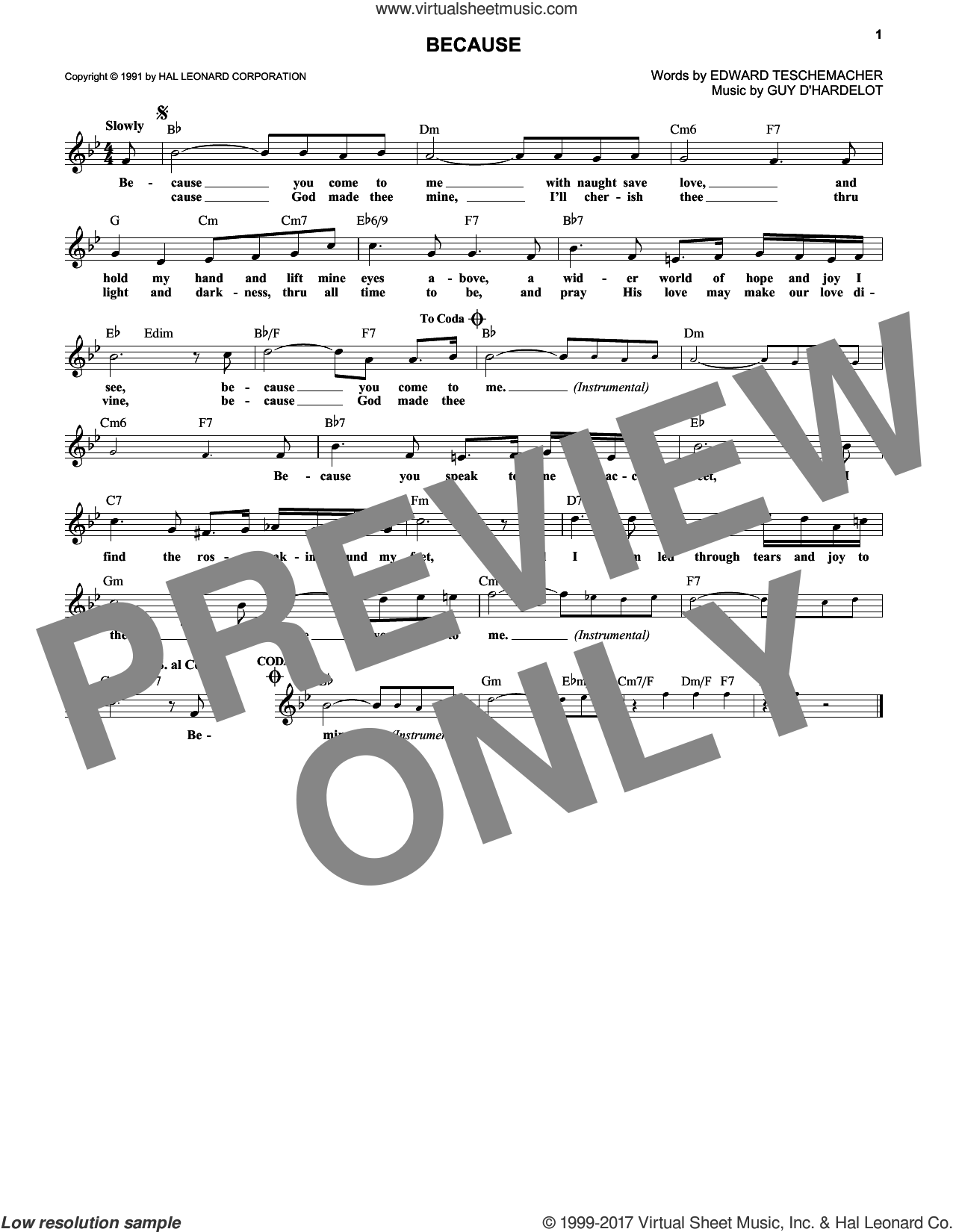 Because sheet music for voice and other instruments (fake book) by Edward Teschemacher, wedding score, intermediate skill level