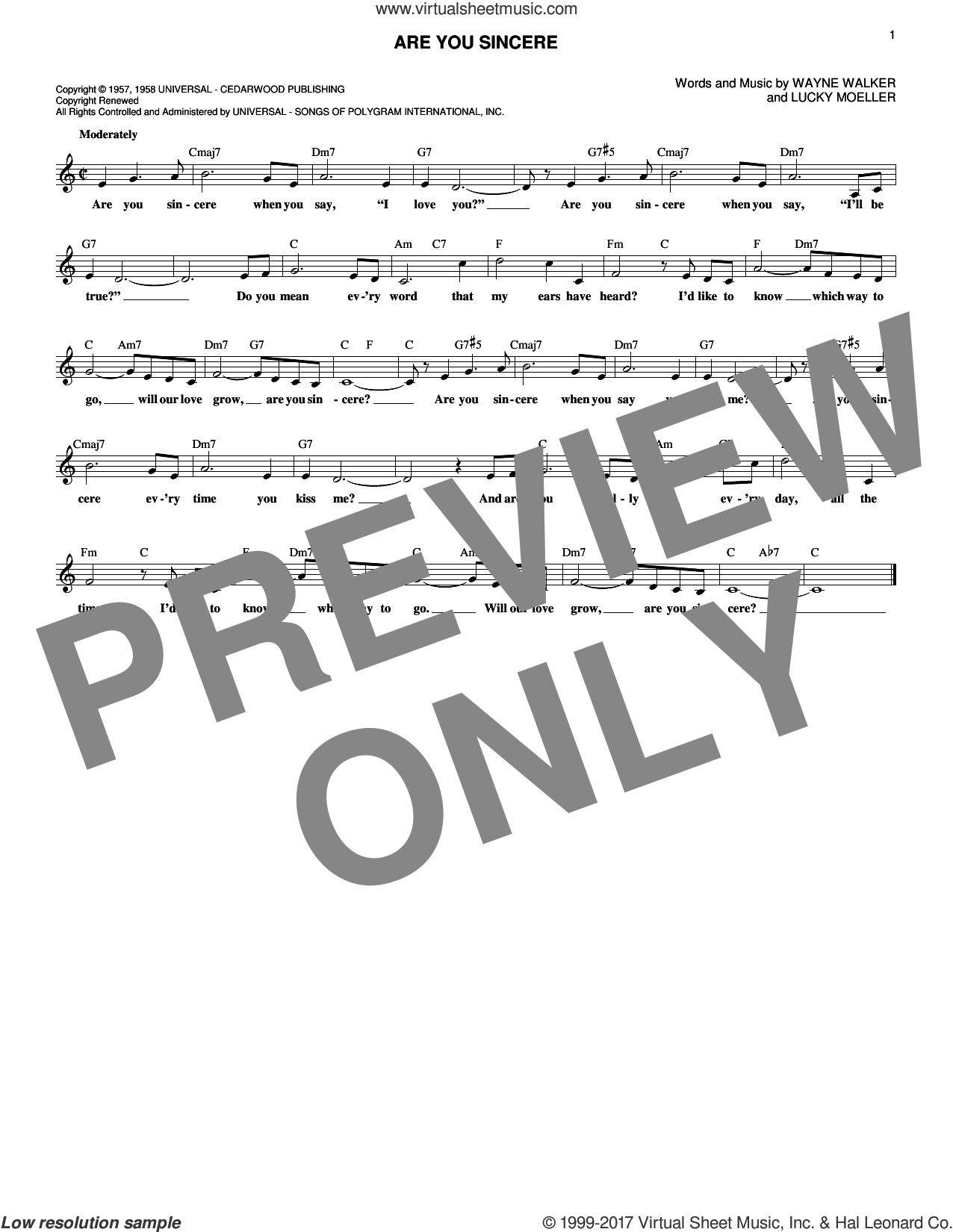 Are You Sincere sheet music for voice and other instruments (fake book) by Wayne Walker, Andy Williams, Elvis Presley, Trini Lopez and Lucky Moeller, intermediate skill level