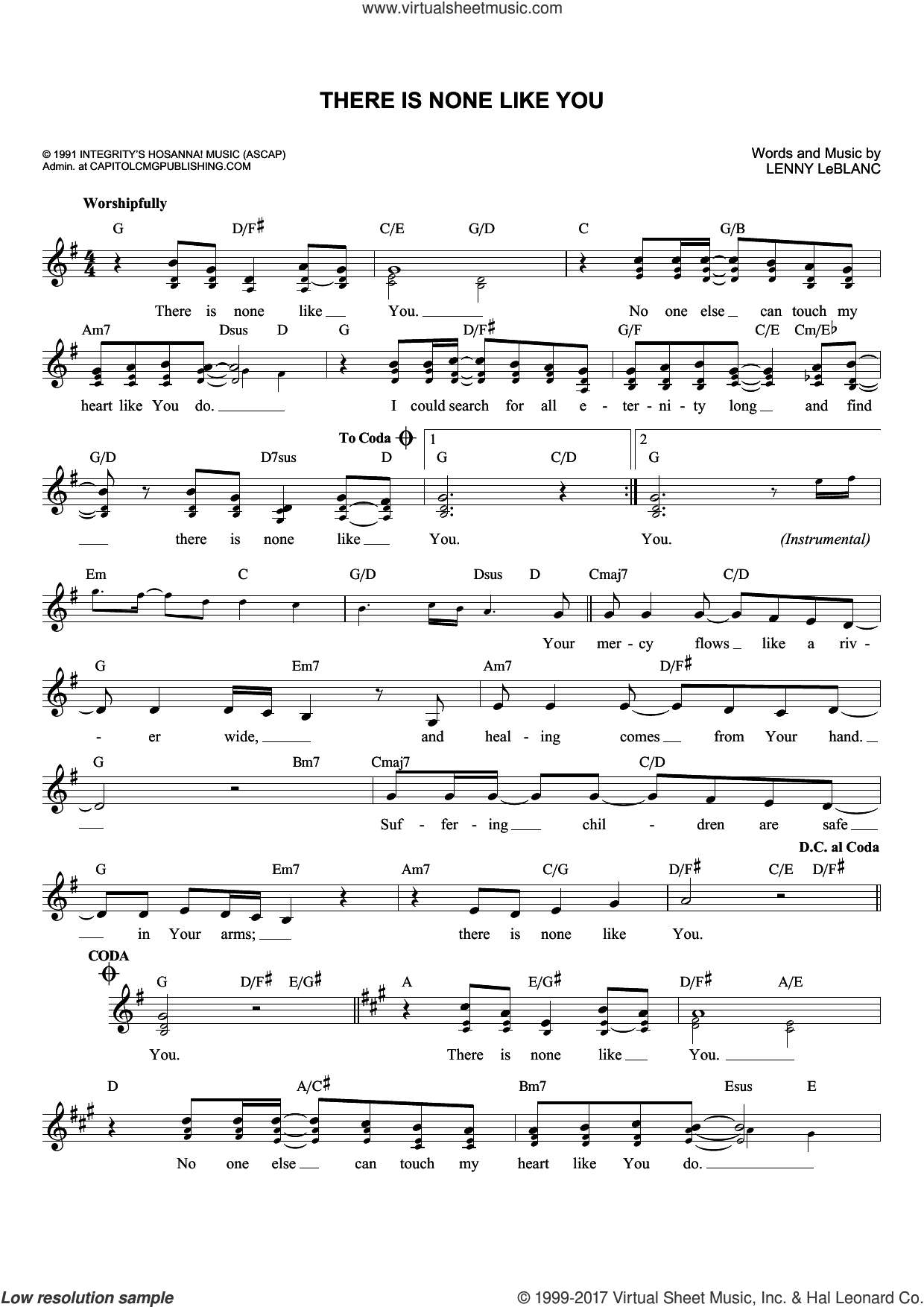 There Is None Like You sheet music for voice and other instruments (fake book) by Lenny LeBlanc. Score Image Preview.