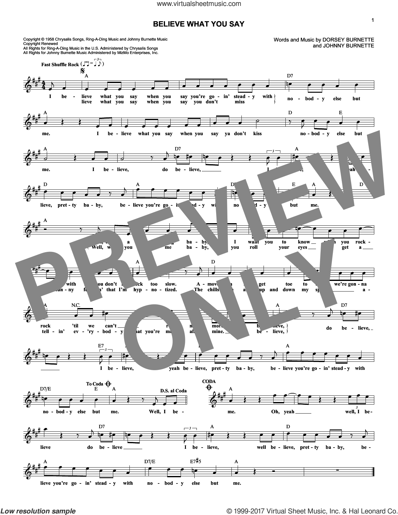 Believe What You Say sheet music for voice and other instruments (fake book) by Johnny Burnette, Ricky Nelson and Dorsey Burnette. Score Image Preview.