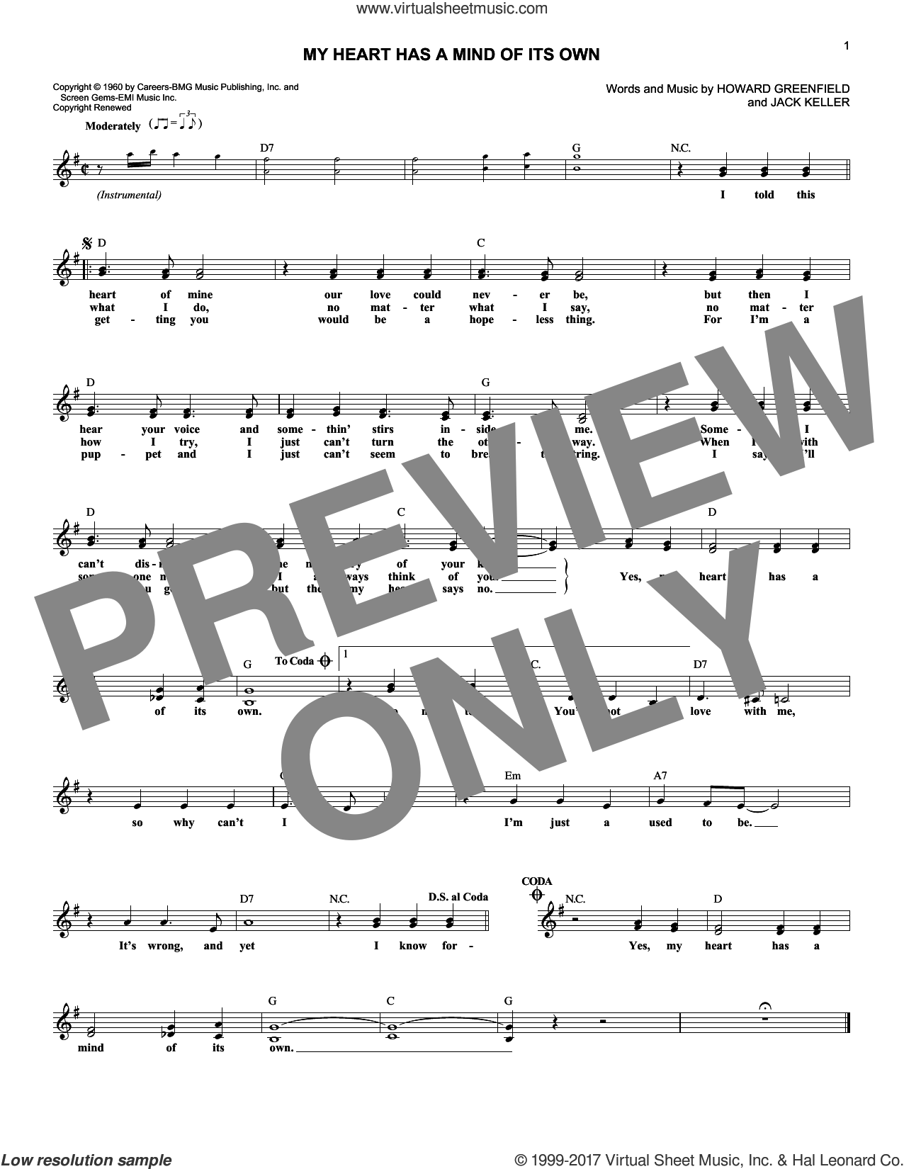 My Heart Has A Mind Of Its Own sheet music for voice and other instruments (fake book) by Connie Francis and Howard Greenfield, intermediate voice. Score Image Preview.