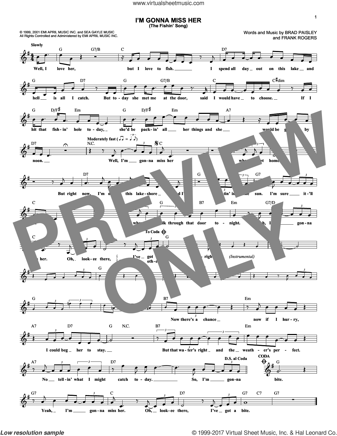 I'm Gonna Miss Her (The Fishin' Song) sheet music for voice and other instruments (fake book) by Brad Paisley and Frank Rogers, intermediate skill level