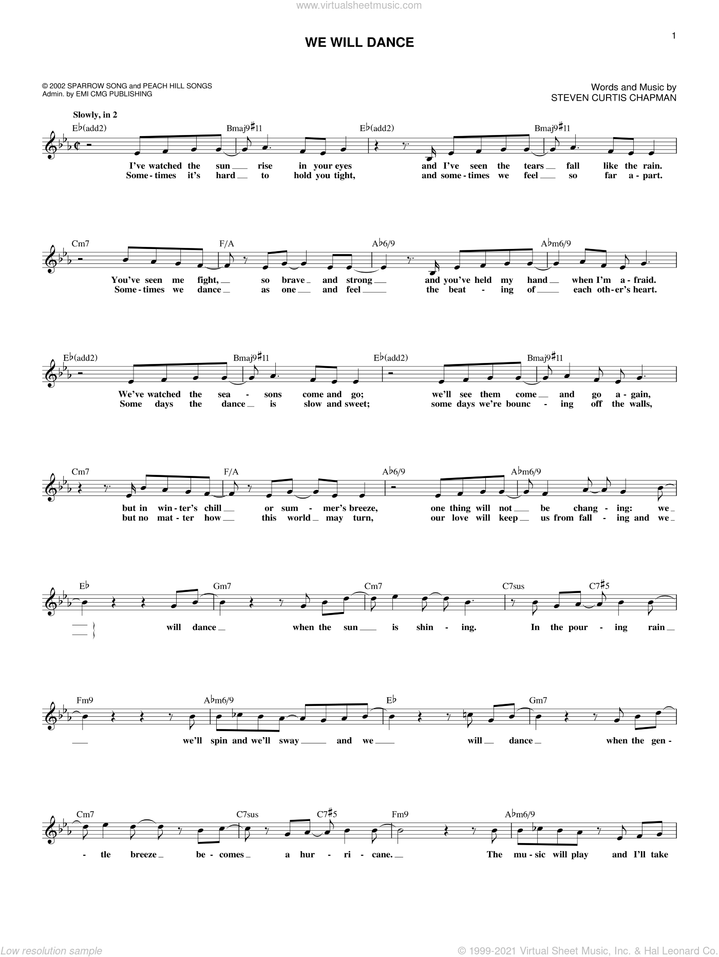 We Will Dance sheet music for voice and other instruments (fake book) by Steven Curtis Chapman, wedding score, intermediate skill level