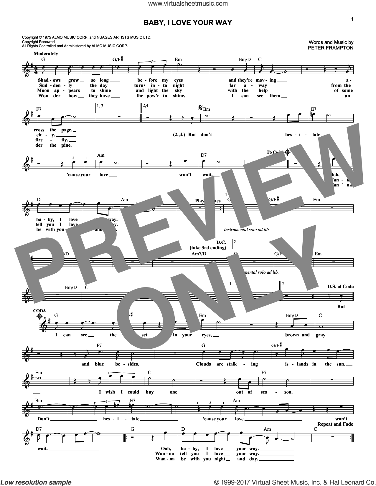 Baby, I Love Your Way sheet music for voice and other instruments (fake book) by Peter Frampton, intermediate skill level