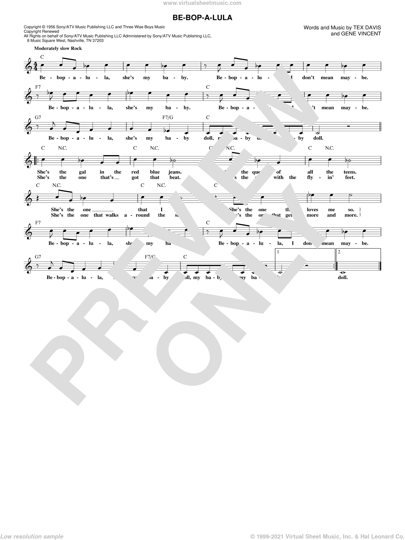 Be-Bop-A-Lula sheet music for voice and other instruments (fake book) by Gene Vincent, intermediate. Score Image Preview.