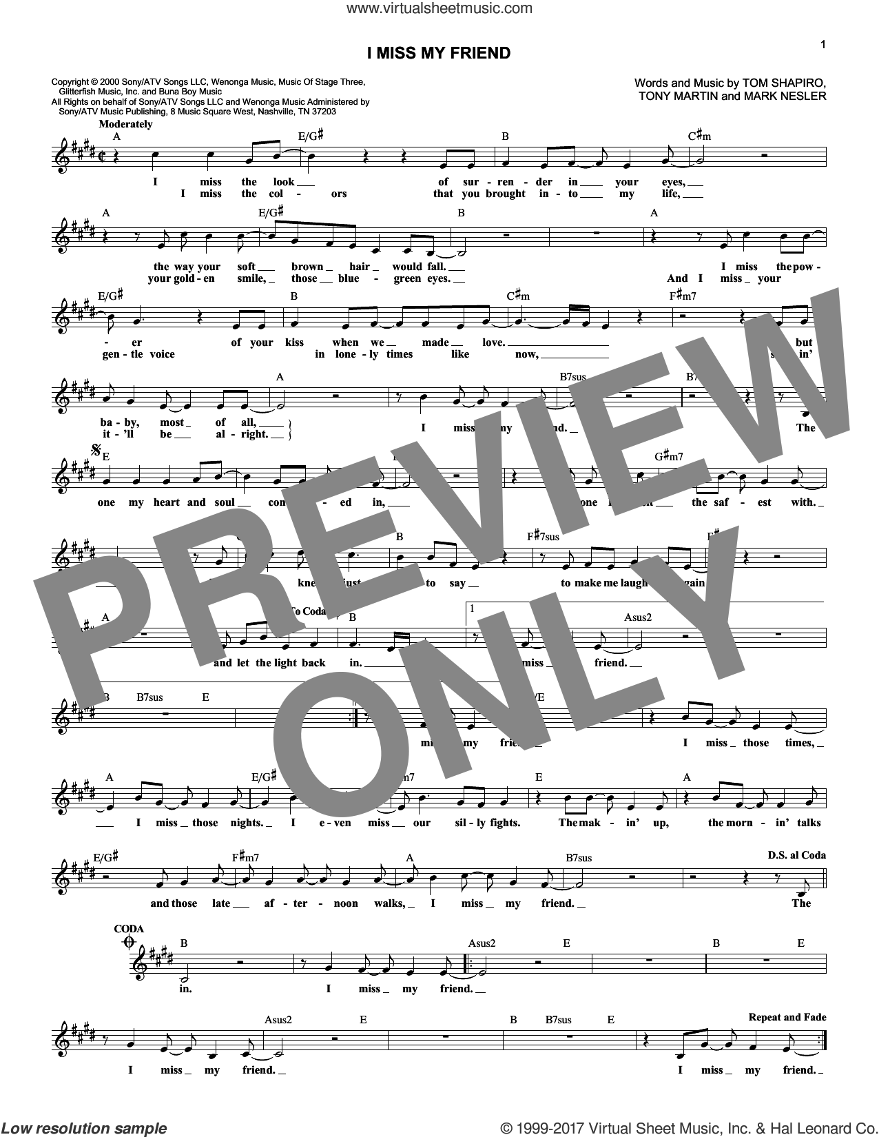 I Miss My Friend sheet music for voice and other instruments (fake book) by Tony Martin, Darryl Worley, Mark Nesler and Tom Shapiro. Score Image Preview.