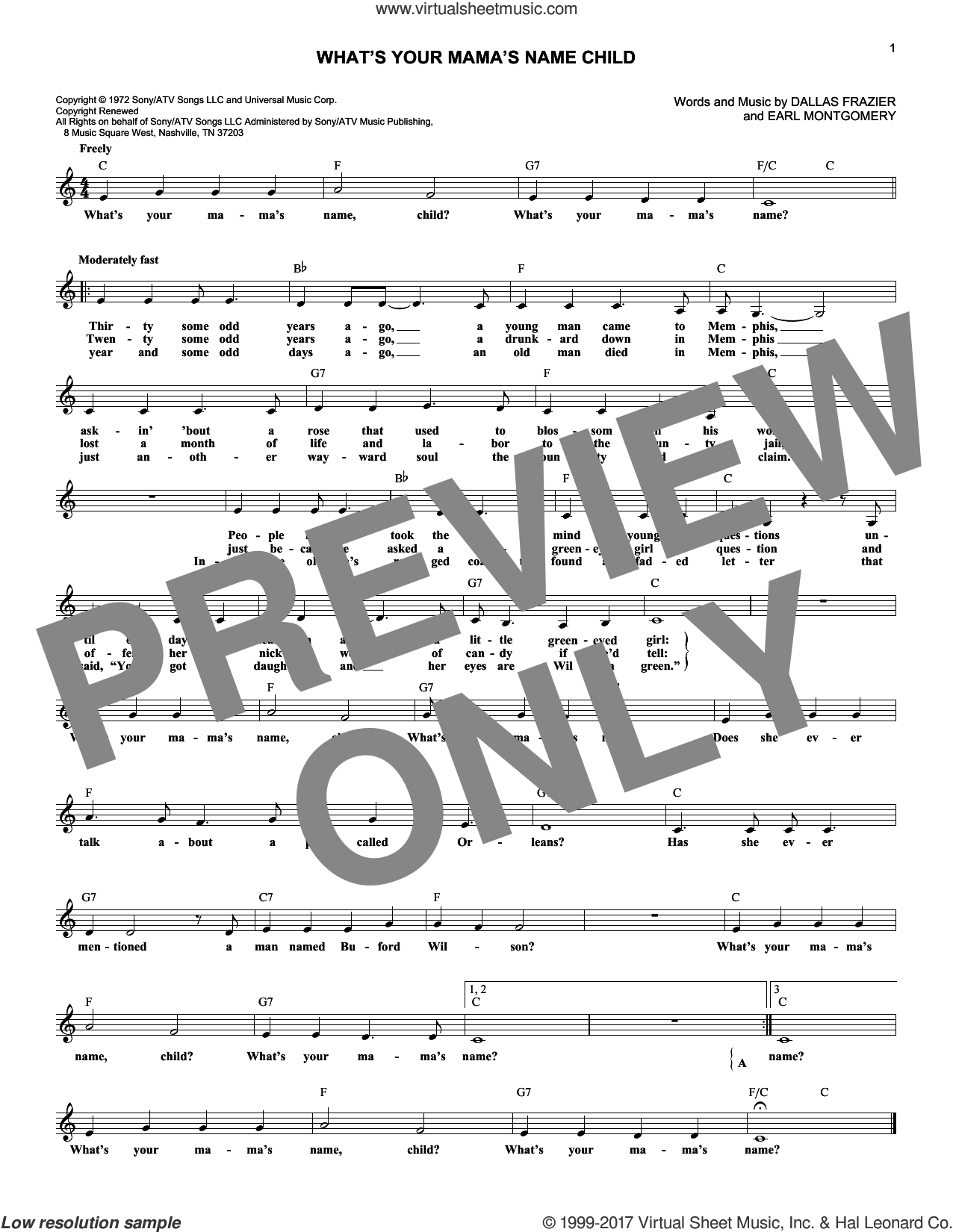 What's Your Mama's Name Child sheet music for voice and other instruments (fake book) by Tanya Tucker, Dallas Frazier and Earl Montgomery, intermediate skill level
